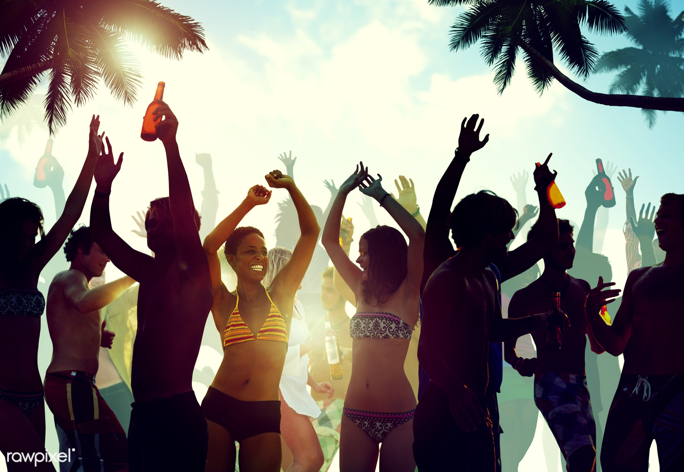 activity, alcohol, arms outstretched, arms raised, back lit, beach, beer, bikini, celebration, cheerful, cheering, coconut...
