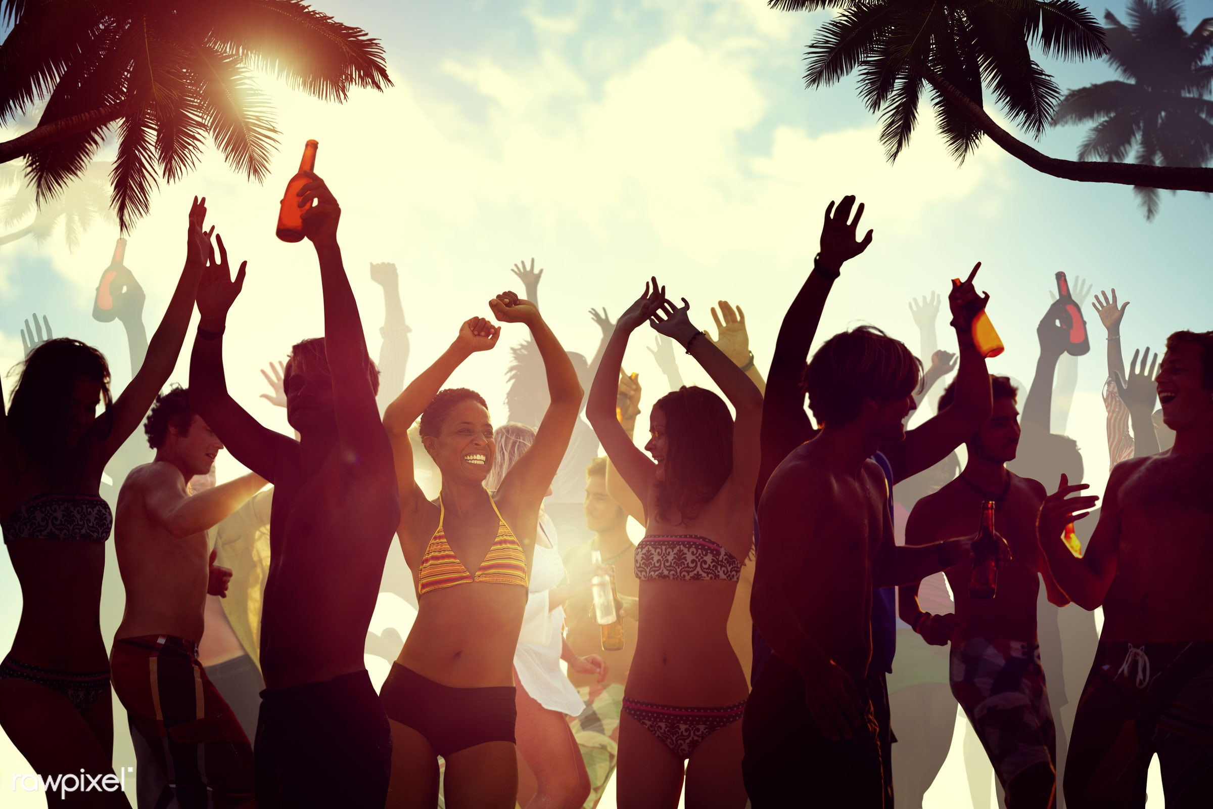beer, activity, alcohol, arms outstretched, arms raised, back lit, beach, bikini, celebration, cheerful, cheering, coconut...