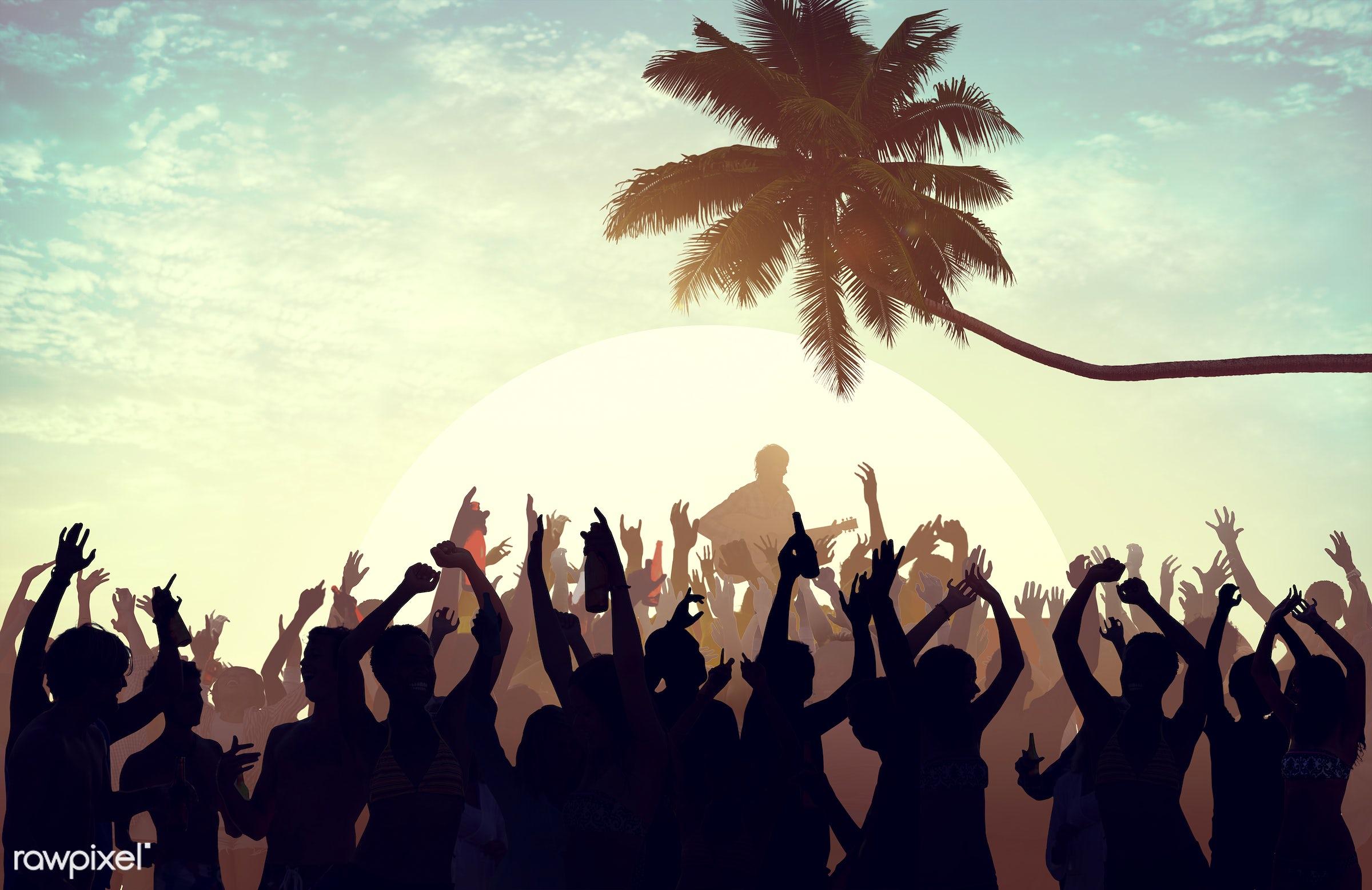 adolescence, audience, back lit, carefree, celebration, cheerful, coconut palm tree, communication, community, concert,...