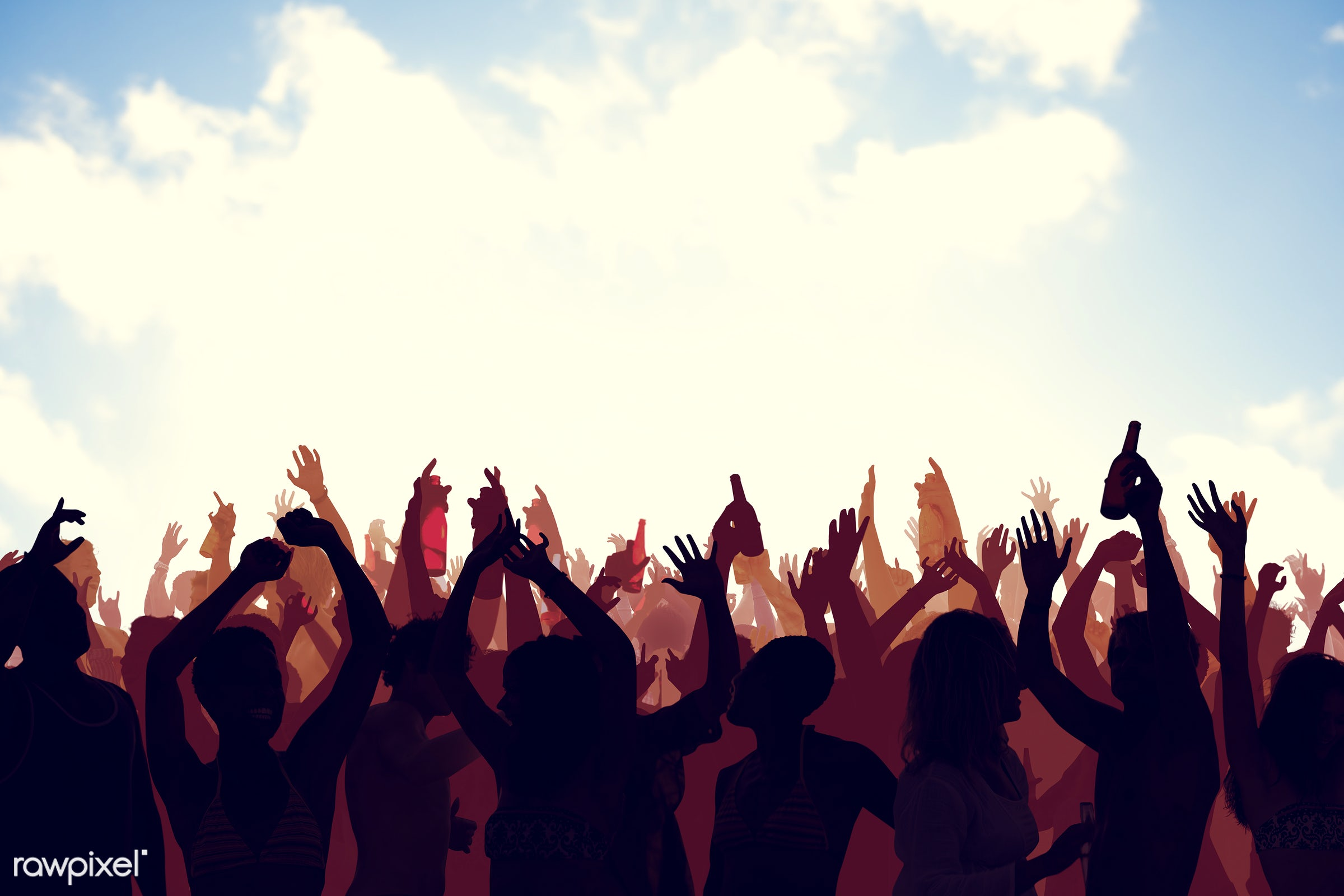 Silhouette of a crowd at an outdoor festival - adolescence, audience, back lit, beach, carefree, celebration, cheerful,...
