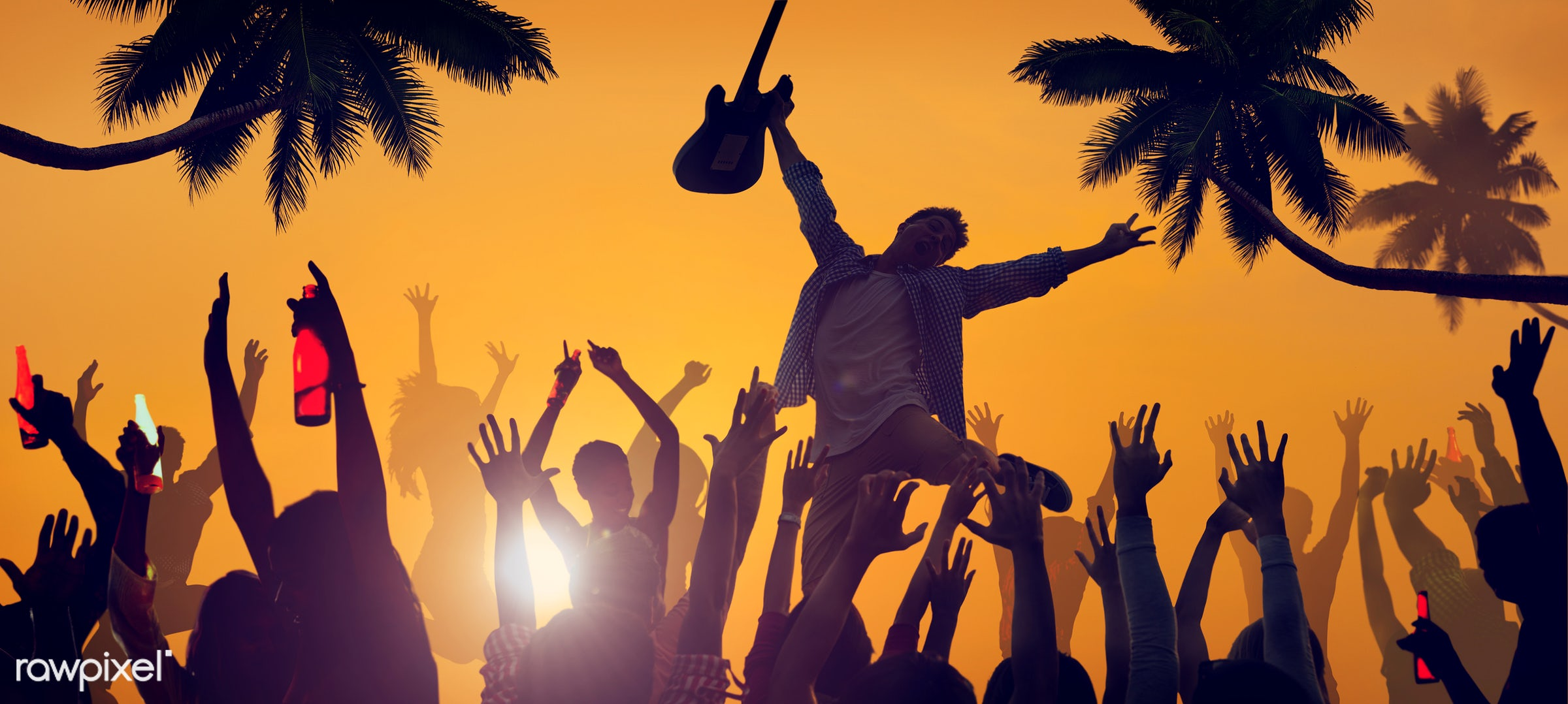 adolescence, arms raised, audience, back lit, carefree, celebration, cheerful, communication, community, concert, crowd,...