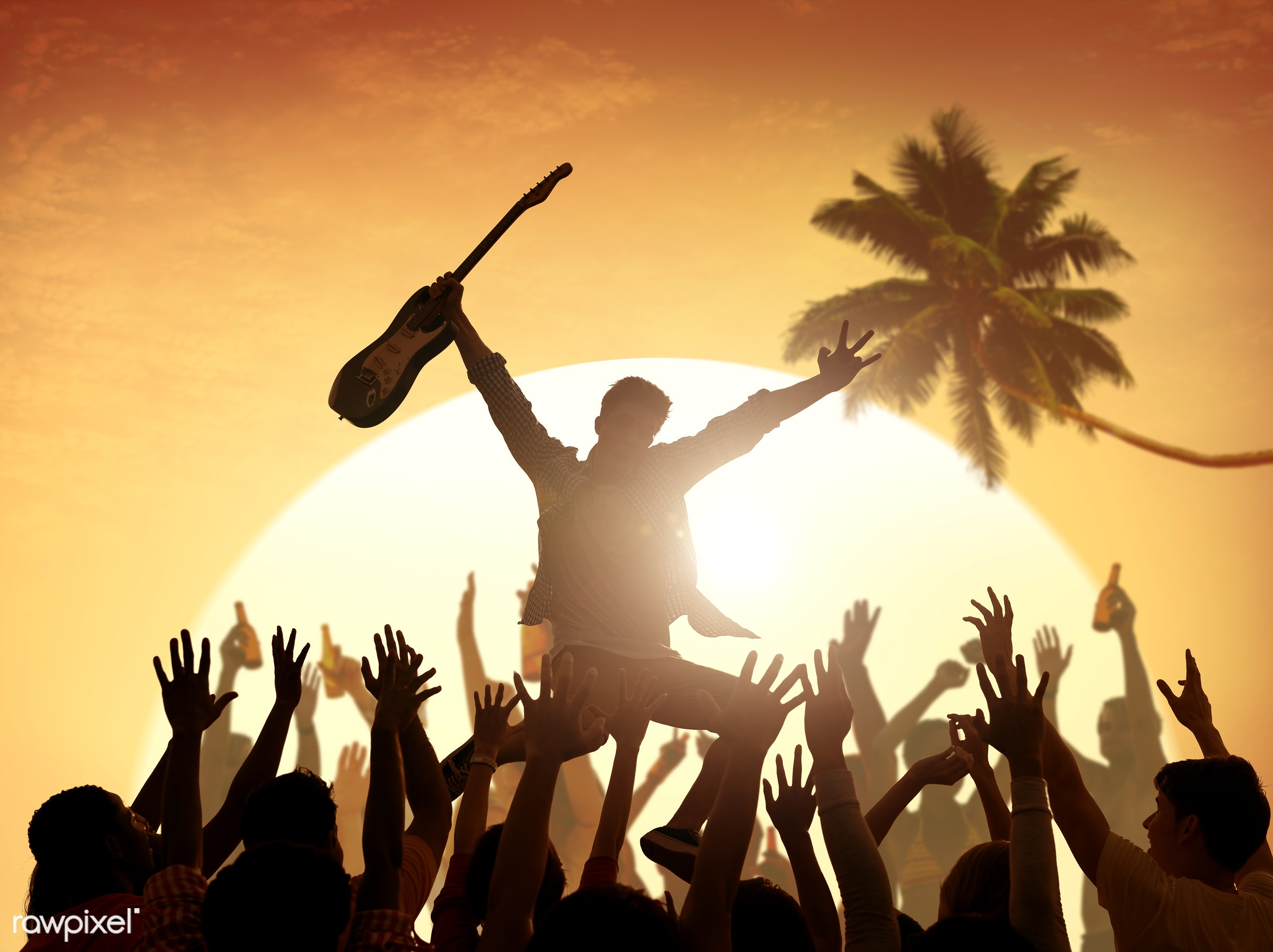 adolescence, arms outstretched, arms raised, audience, back lit, carefree, celebration, cheerful, coconut palm tree,...