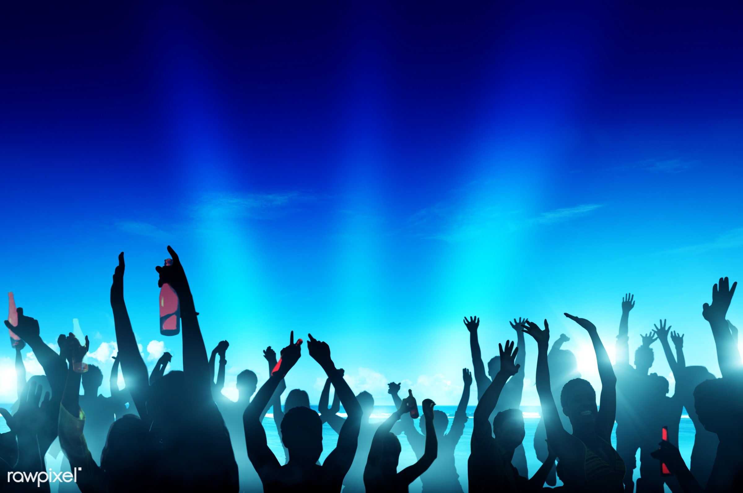 concert, nightlife, alcohol, arms outstretched, arms raised, beach, beer, blue, celebration, cheerful, cheering, coconut...