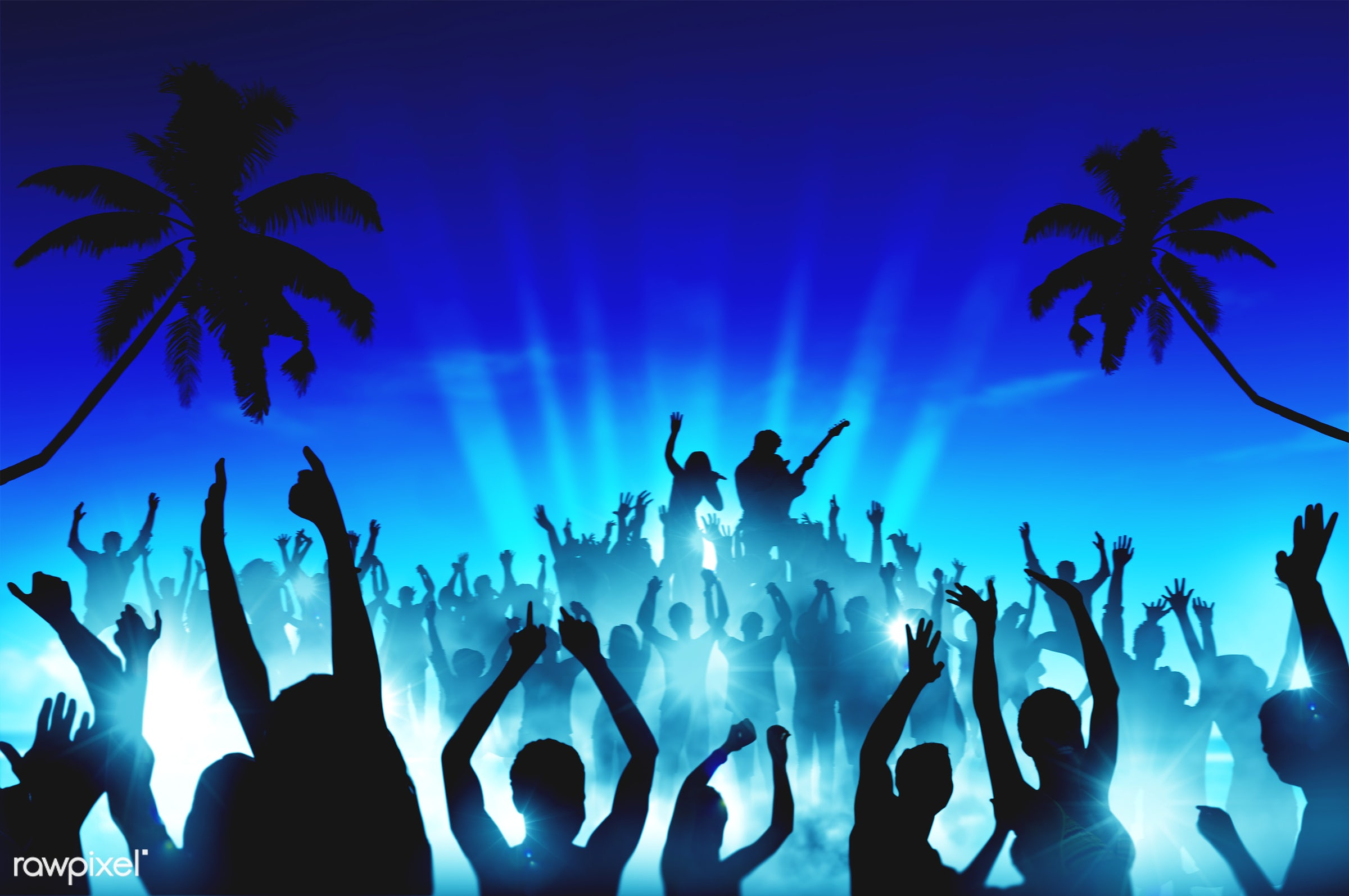 applauding, arms outstretched, arms raised, audience, back lit, beach, blue, celebration, cheering, coconut palm tree,...