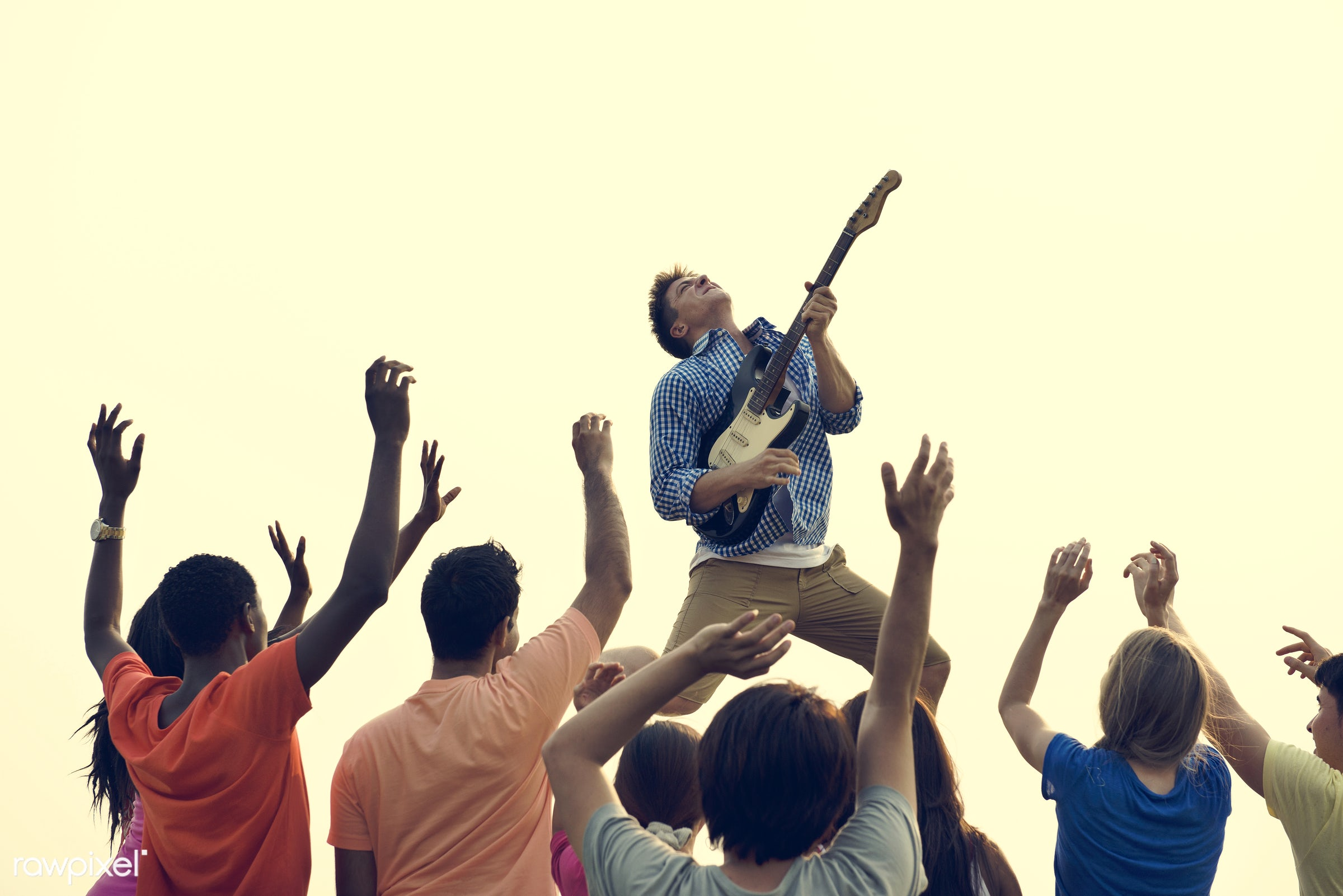 arms raised, casual, celebration, cheerful, circle of friends, clique, community, concert, dawn, day, day break, enjoy,...