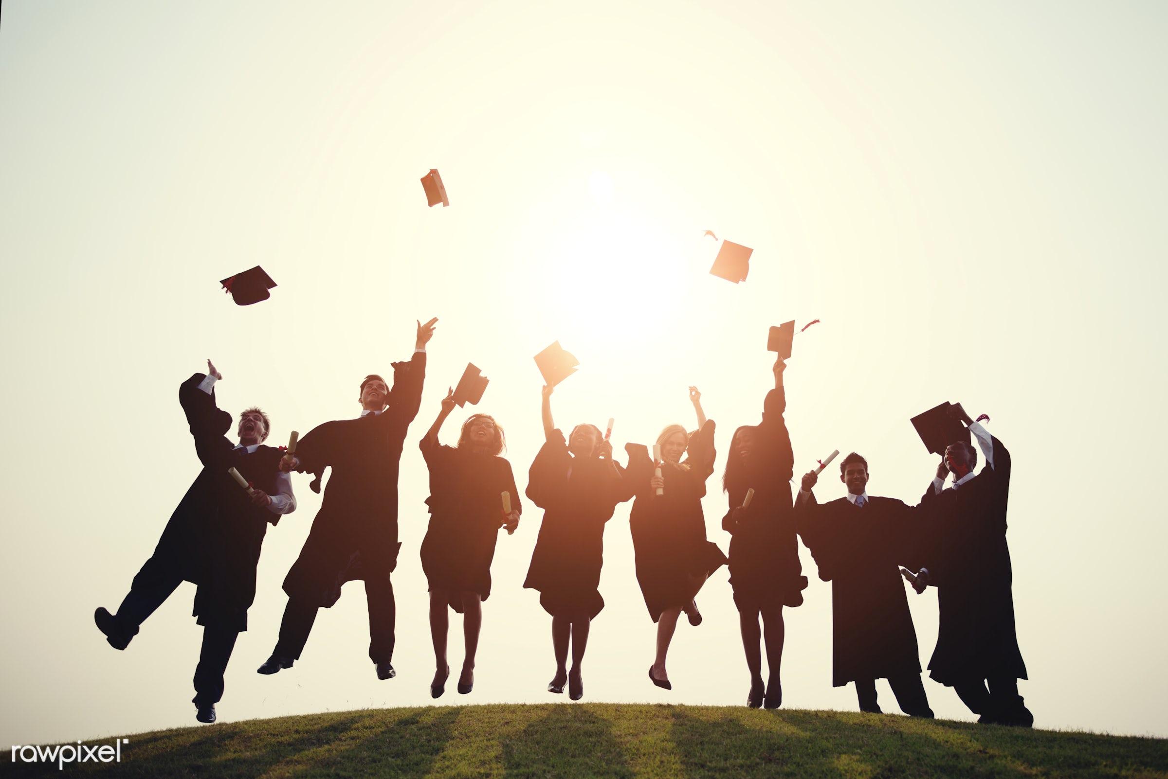 Group of diverse graduating students - graduate, graduation, university, college, degree, achievement, african, alumni,...