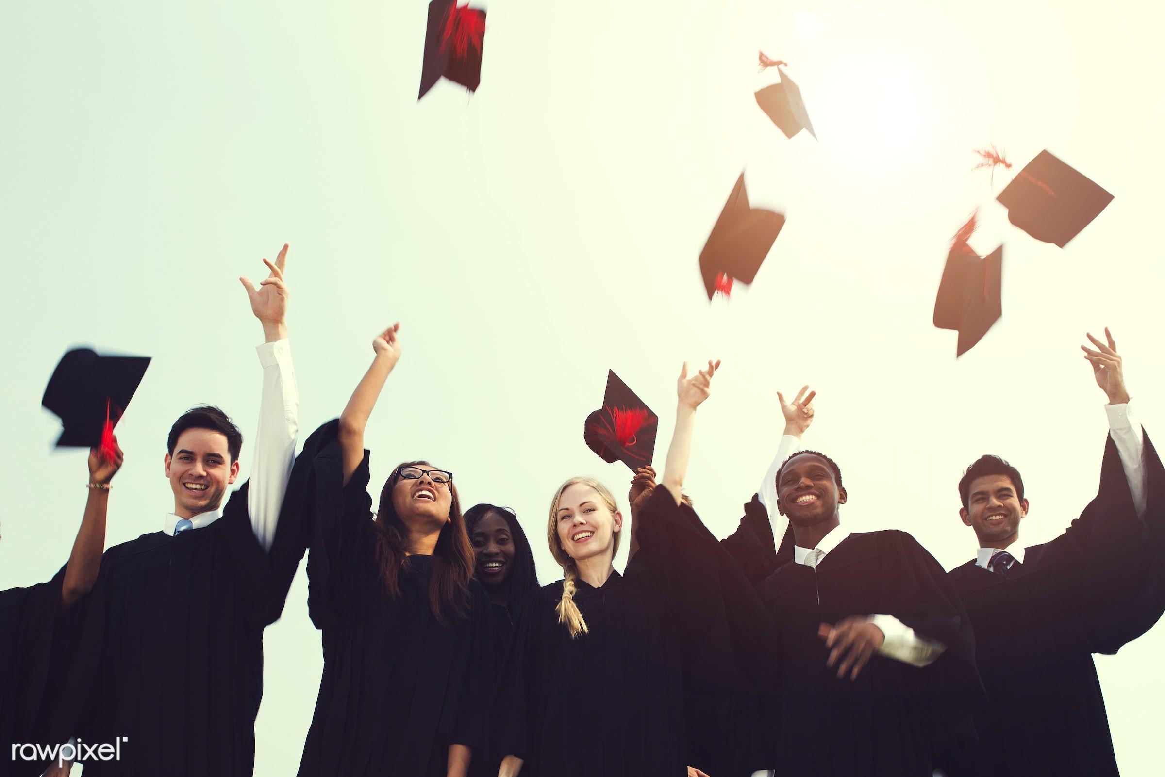 Group of diverse graduating students - graduation, university, achievement, african, alumni, asian, best friends, caucasian...