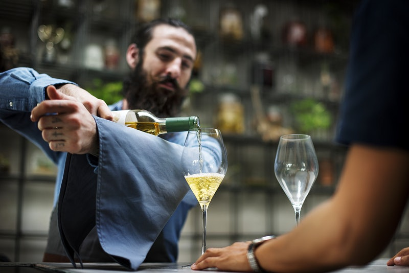Fancy champagne service at a restaurant