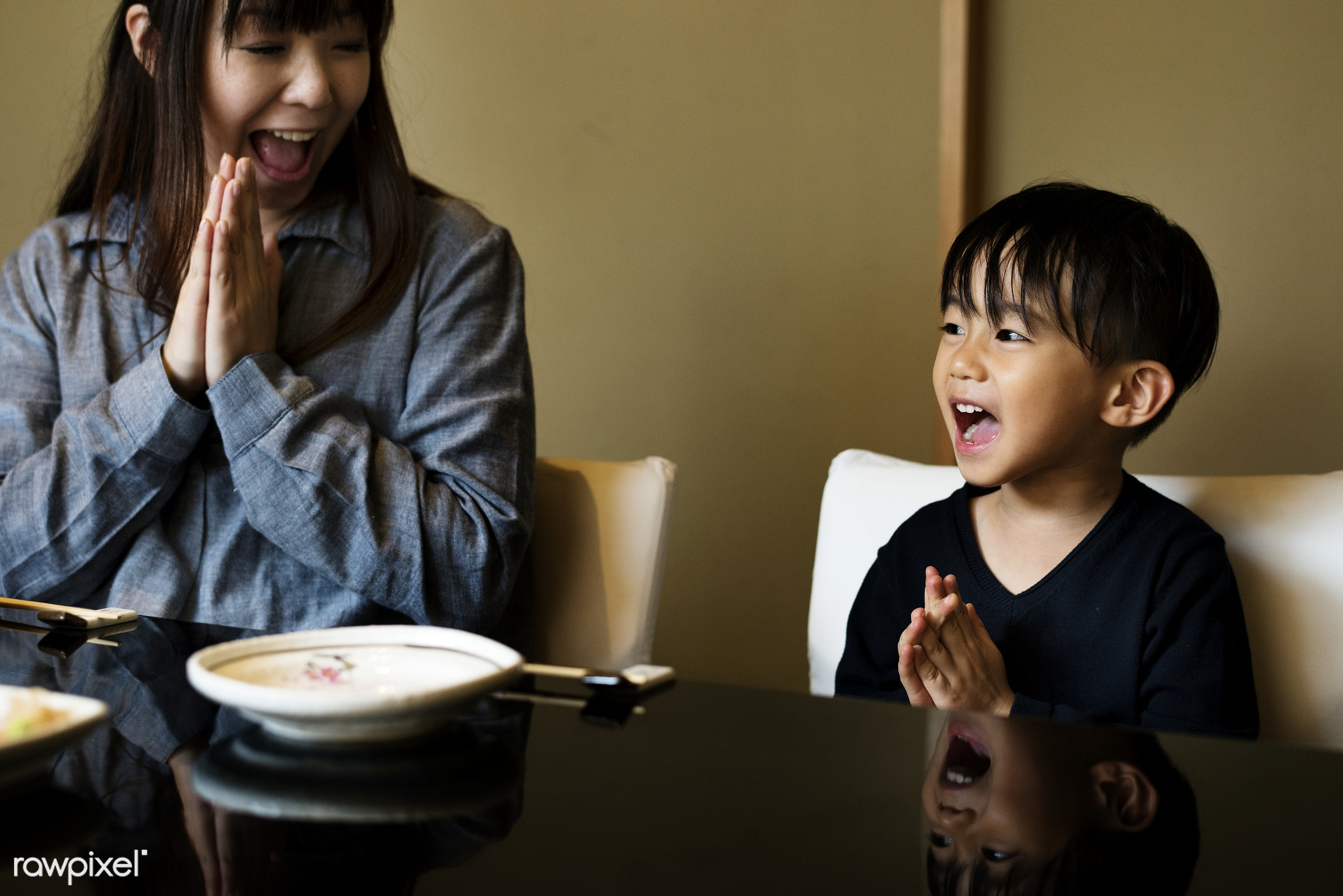 Japanese mother and son praying - boy, family, kid, asian, lifestyle, woman, japan, asia, bonding, casual, child, childhood...