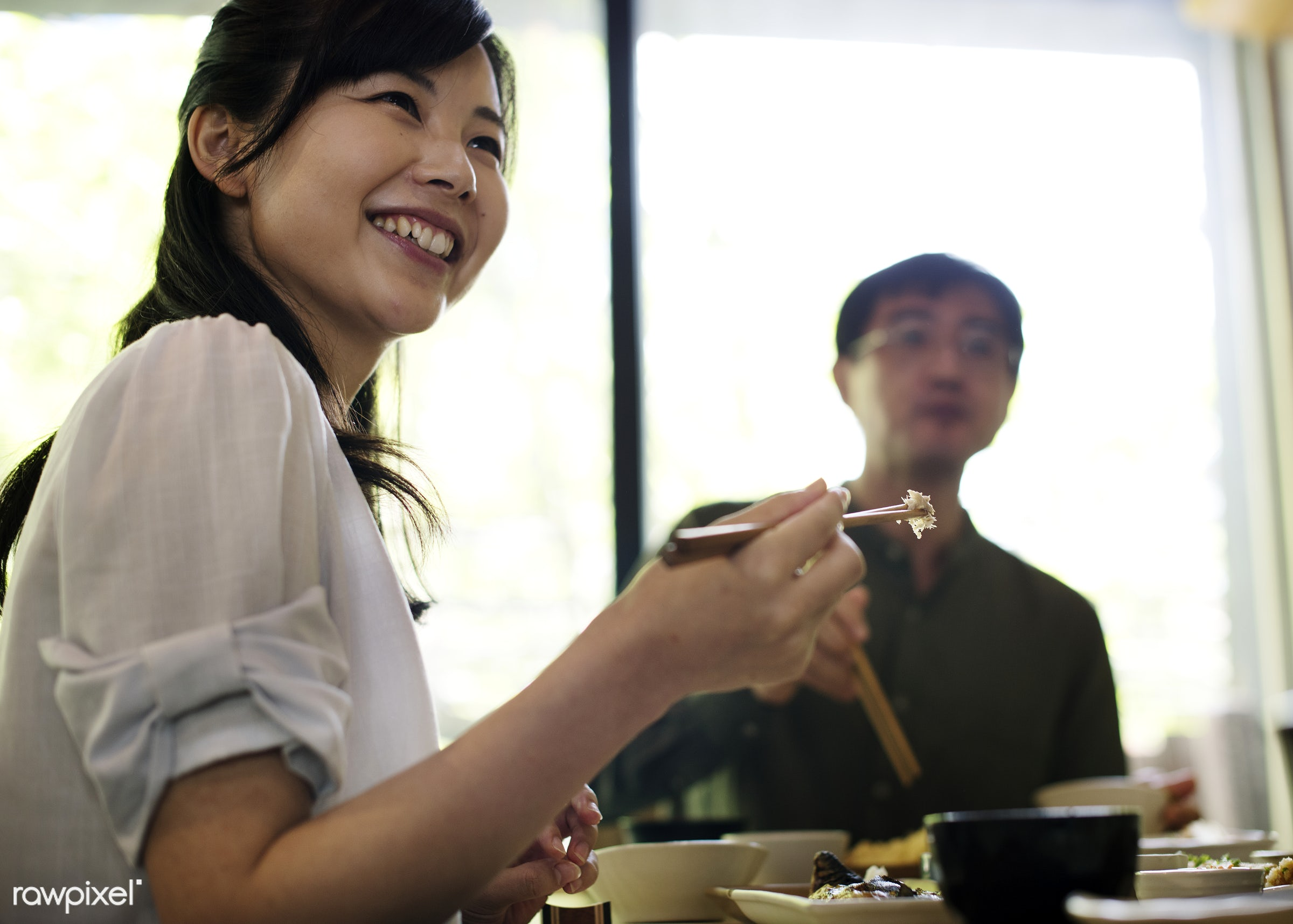Japanese husband and wife eating - asia, asian, cuisine, delicious, dining, eating, family, food, group, healthy, japan,...