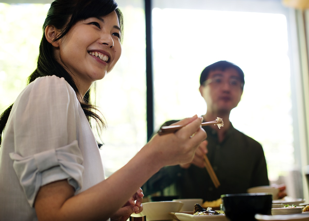 Japanese husband and wife eating