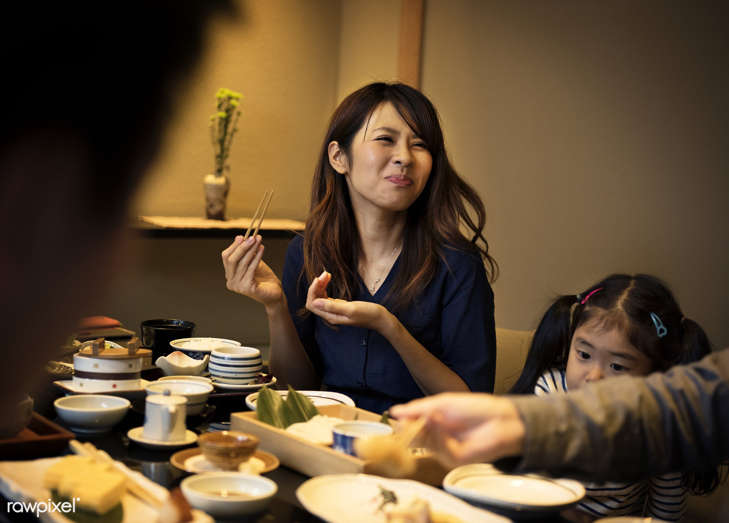 Japanese family dinner - asia, asian, bonding, culture, dining, dinner, eating, family, food, happiness, home, japan,...