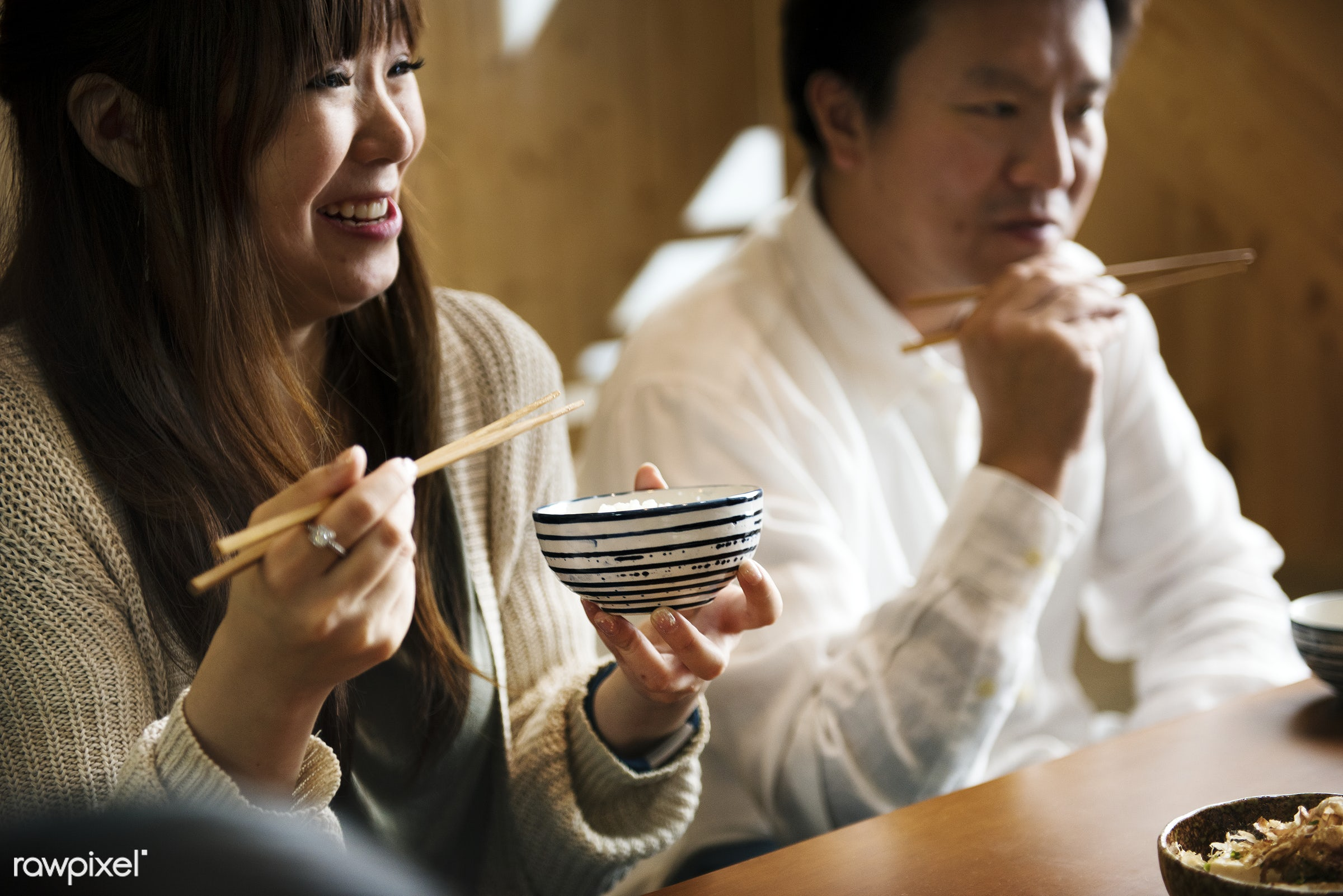 Japanese husband and wife eating - dining, eating, japan, asia, asian, cuisine, delicious, food, group, healthy, japanese,...