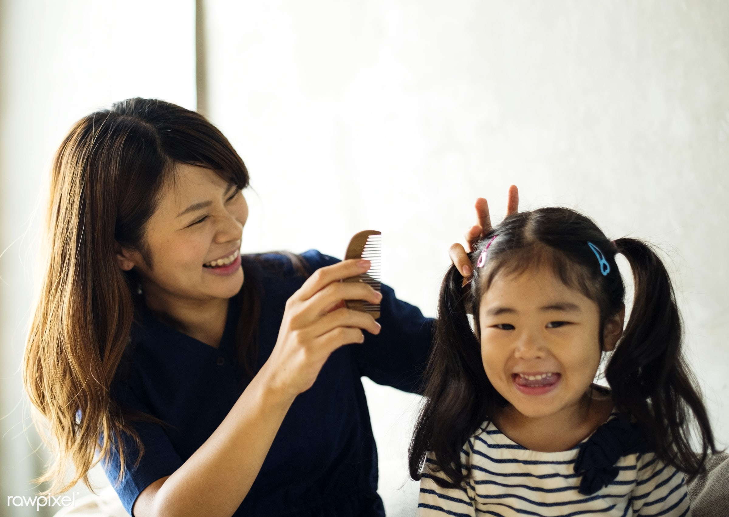 Cheerful japanese mother and daughter - daughter, asia, asian, bonding, casual, child, childhood, combing, family, girl,...
