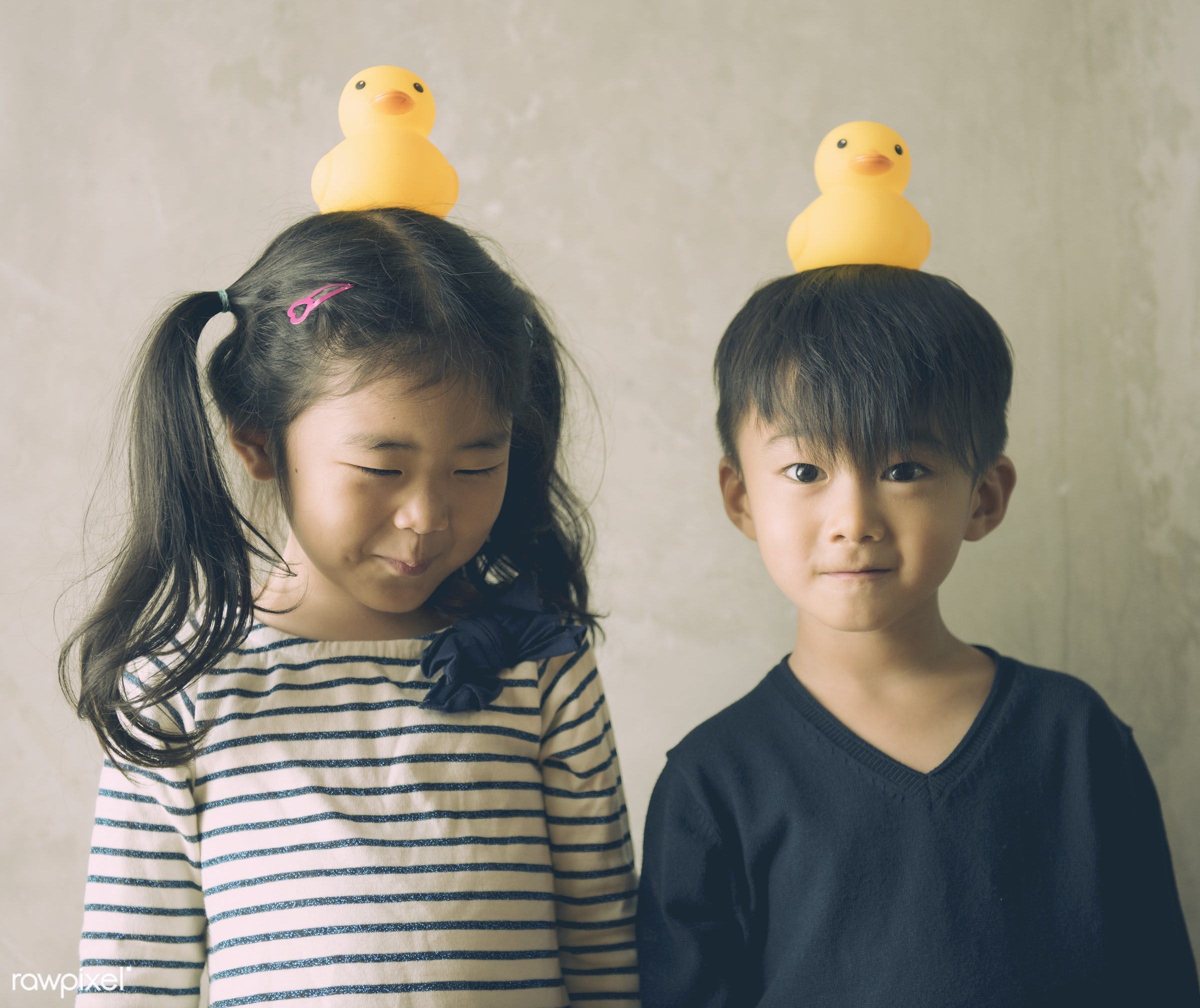 Japanese kids with rubber duckies on their heads - adorable, asia, asian, brother, casual, childhood, children, duck, family...