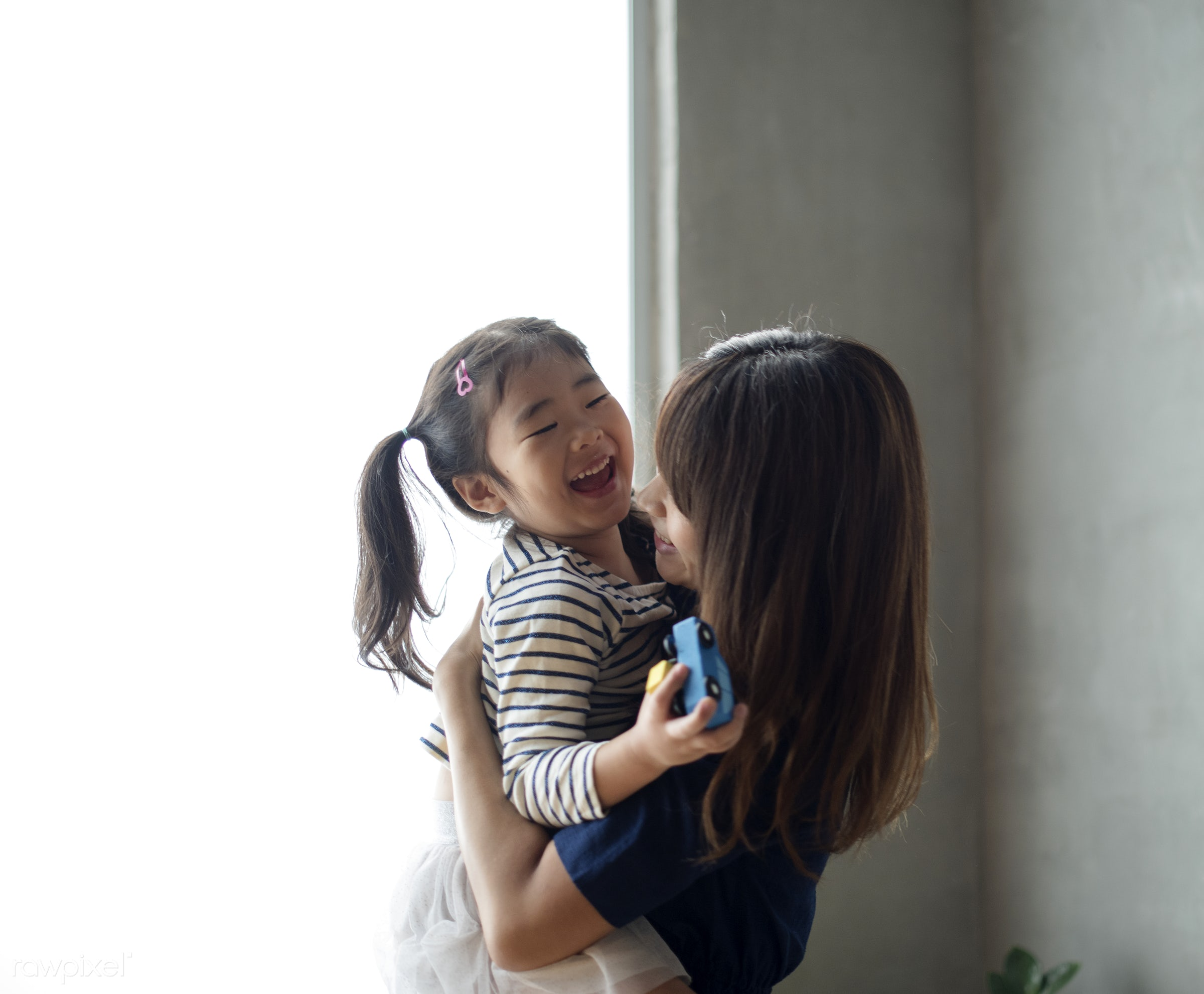 Cheerful japanese mother and daughter - family, asia, asian, bonding, carrying, casual, child, childhood, daughter, girl,...
