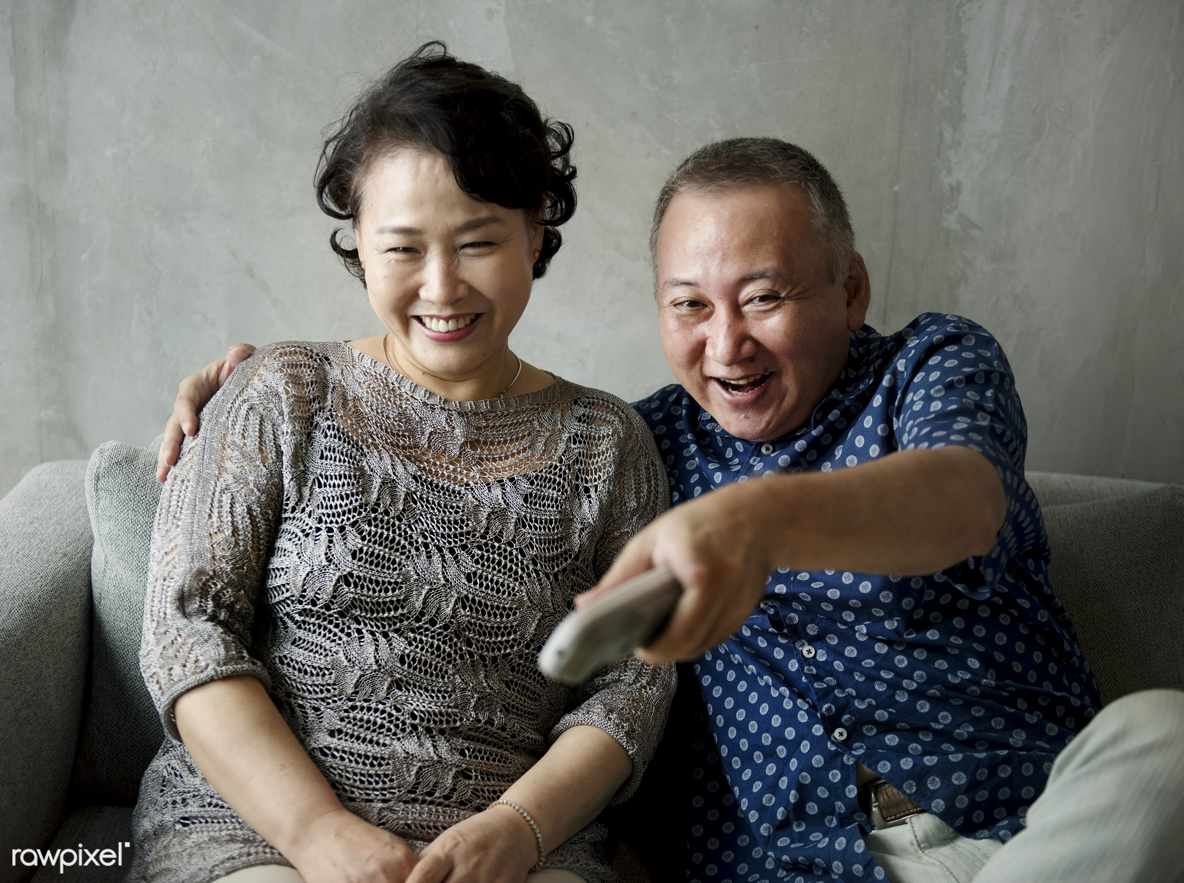 tv, asian, couch, couple, culture, elderly, family, grandfather, grandmother, grandparents, happiness, home, japanese,...