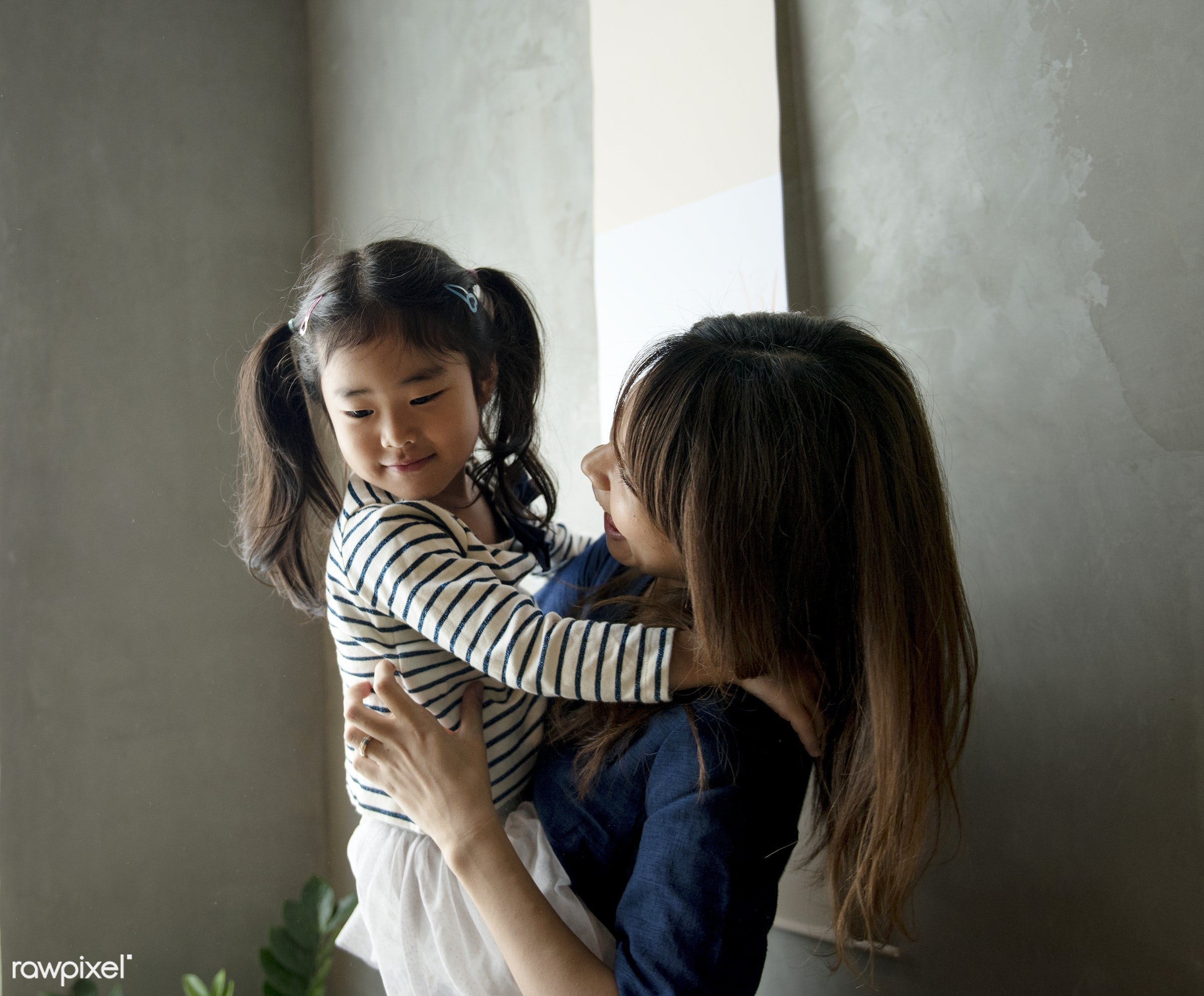 Japanese mother and daughter - asian, kid, japanese, asia, bonding, carrying, casual, child, childhood, daughter, family,...