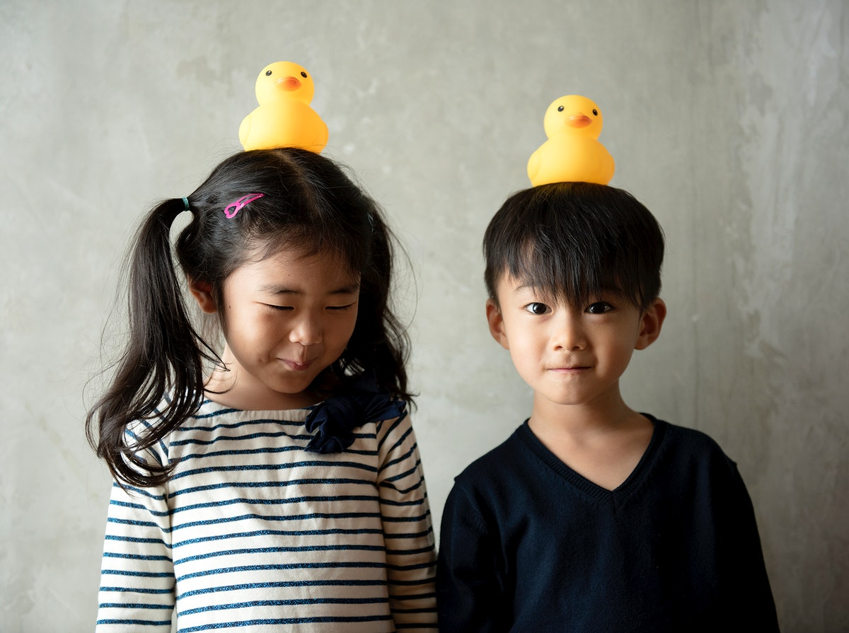 Japanese sibling playing together happiness