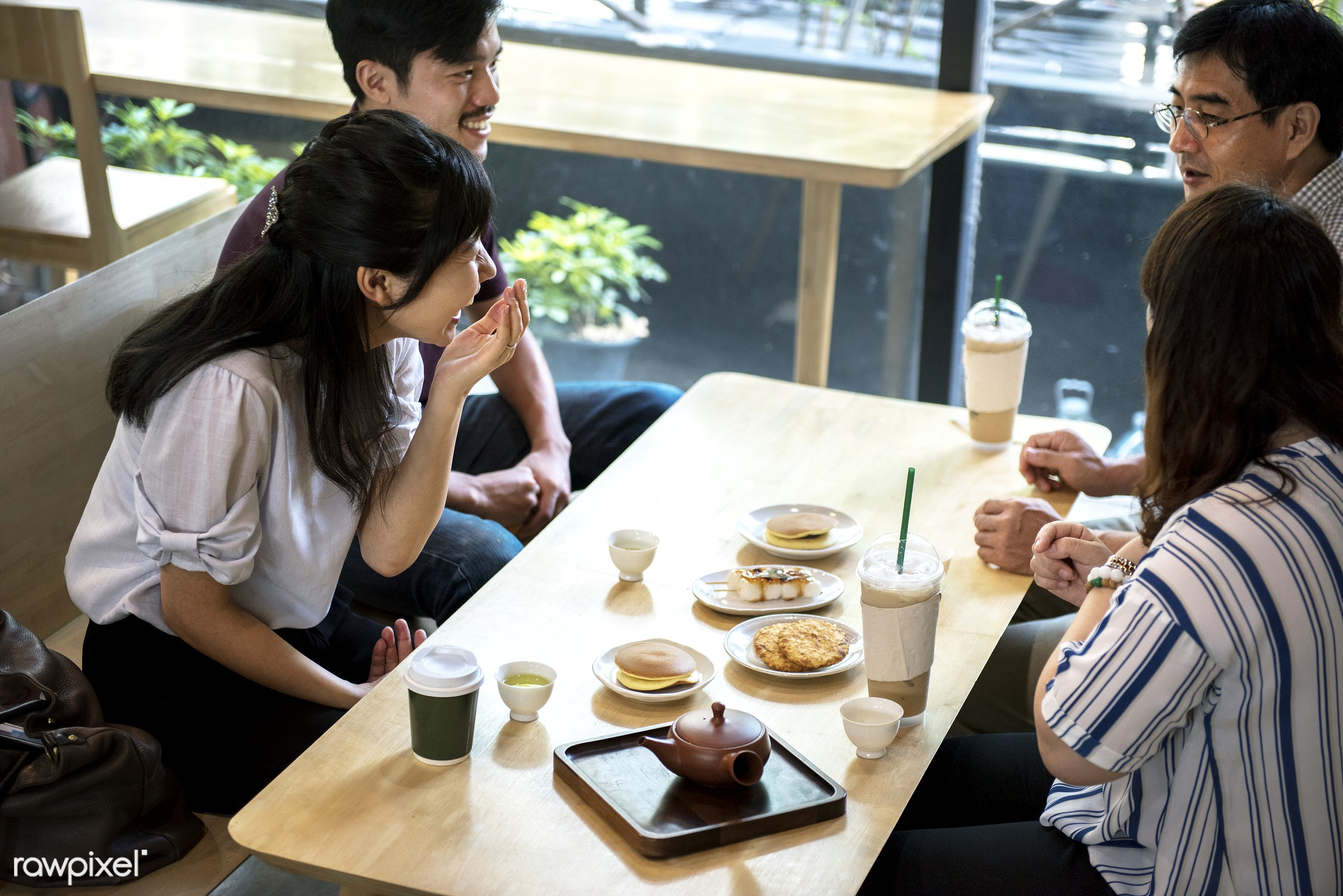 Japanese friends in a cafe - afternoon tea, asia, asian, cafe, coffee shop, dessert, discussion, eating, friends, group,...