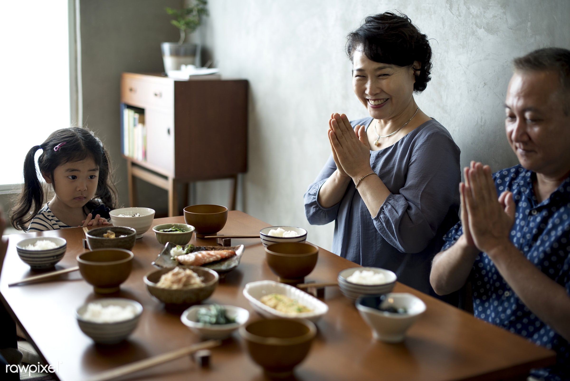Japanese family praying together - asia, asian, bonding, culture, dining, dinner, eating, family, food, group, happiness,...