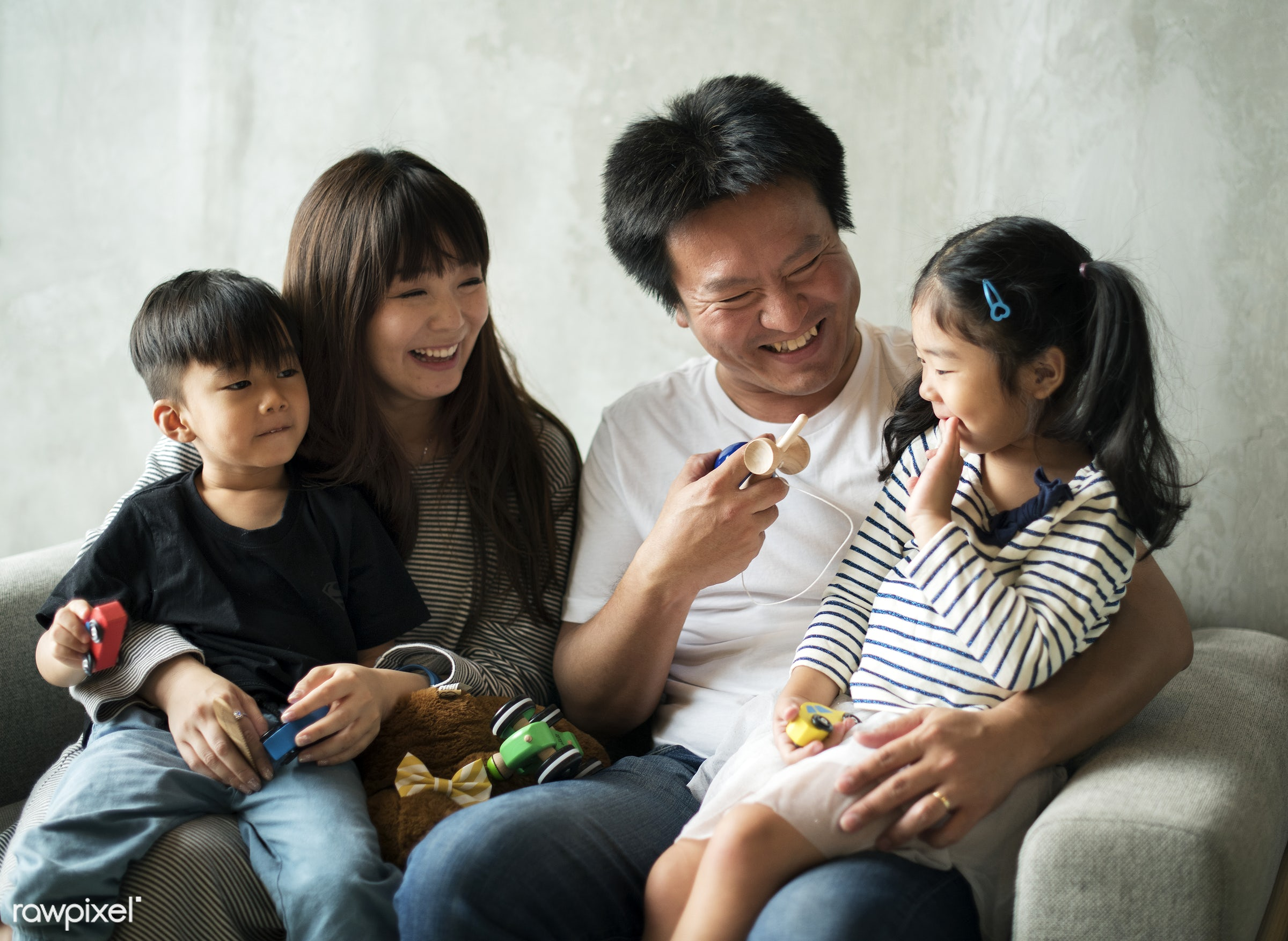 Happy japanese family - asian, family, japan, lifestyle, japanese, home, people, asia, bonding, casual, childhood, children...