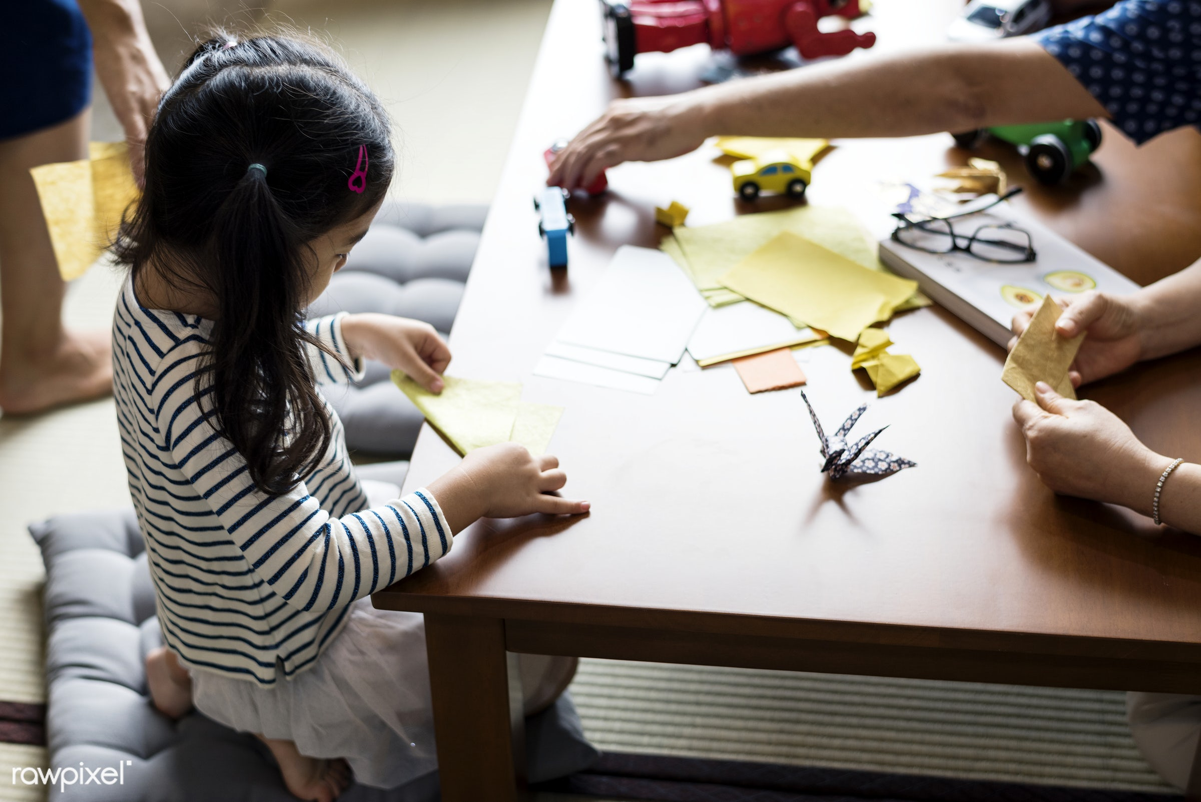 Japanese girl playing with origami - japanese, japan, origami, adorable, asia, asian, brother, casual, childhood, children,...