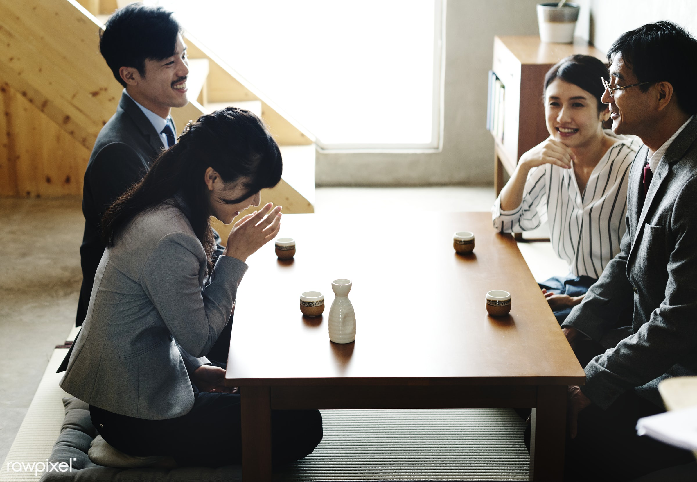 Japanese friends having a great time together - japan, family, asia, asian, bowing, ceremony, culture, drinking, formal,...