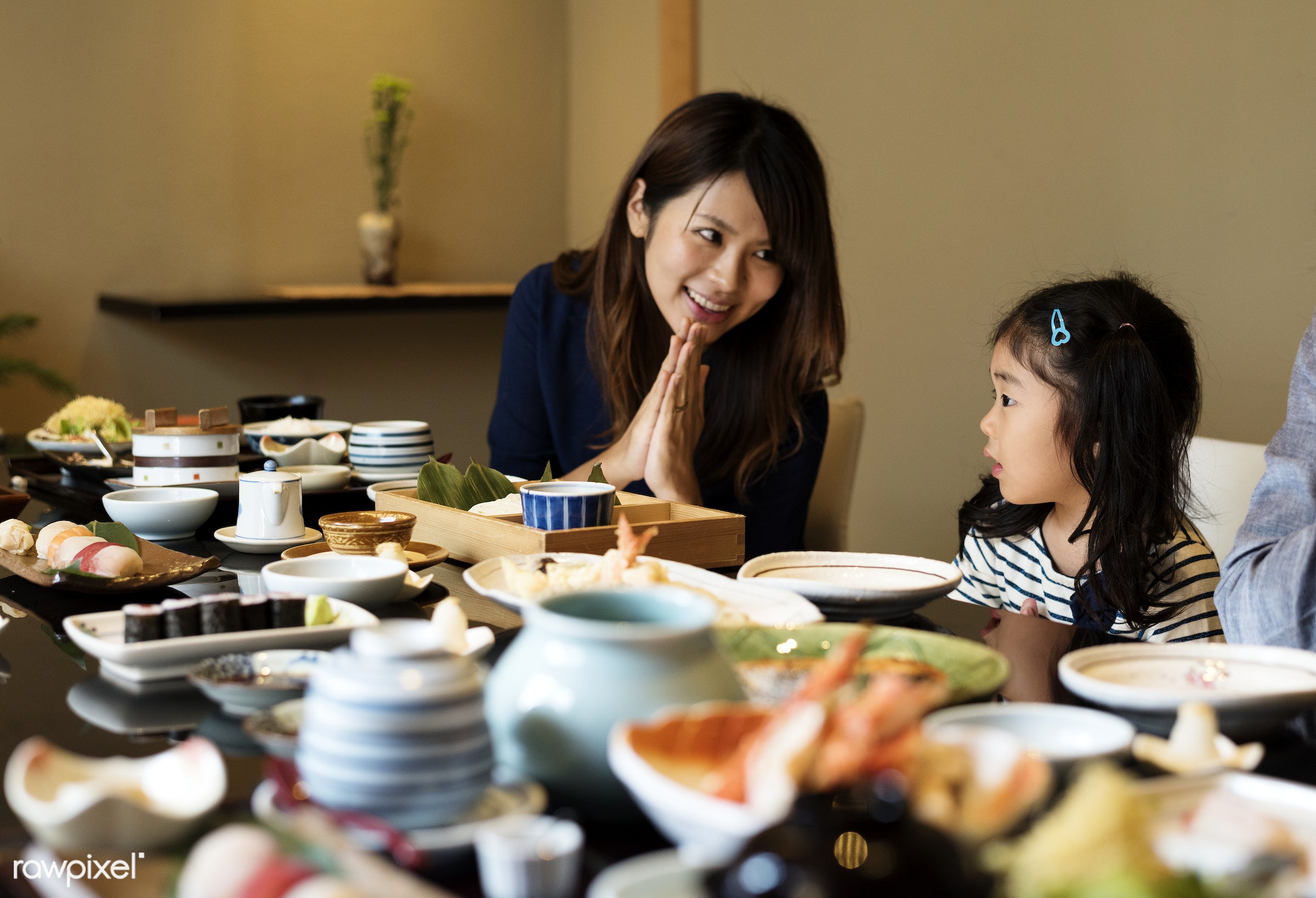 Japanese mother with her daughter - japanese, japan, restaurant, asia, asian, bonding, culture, daughter, dining, dinner,...