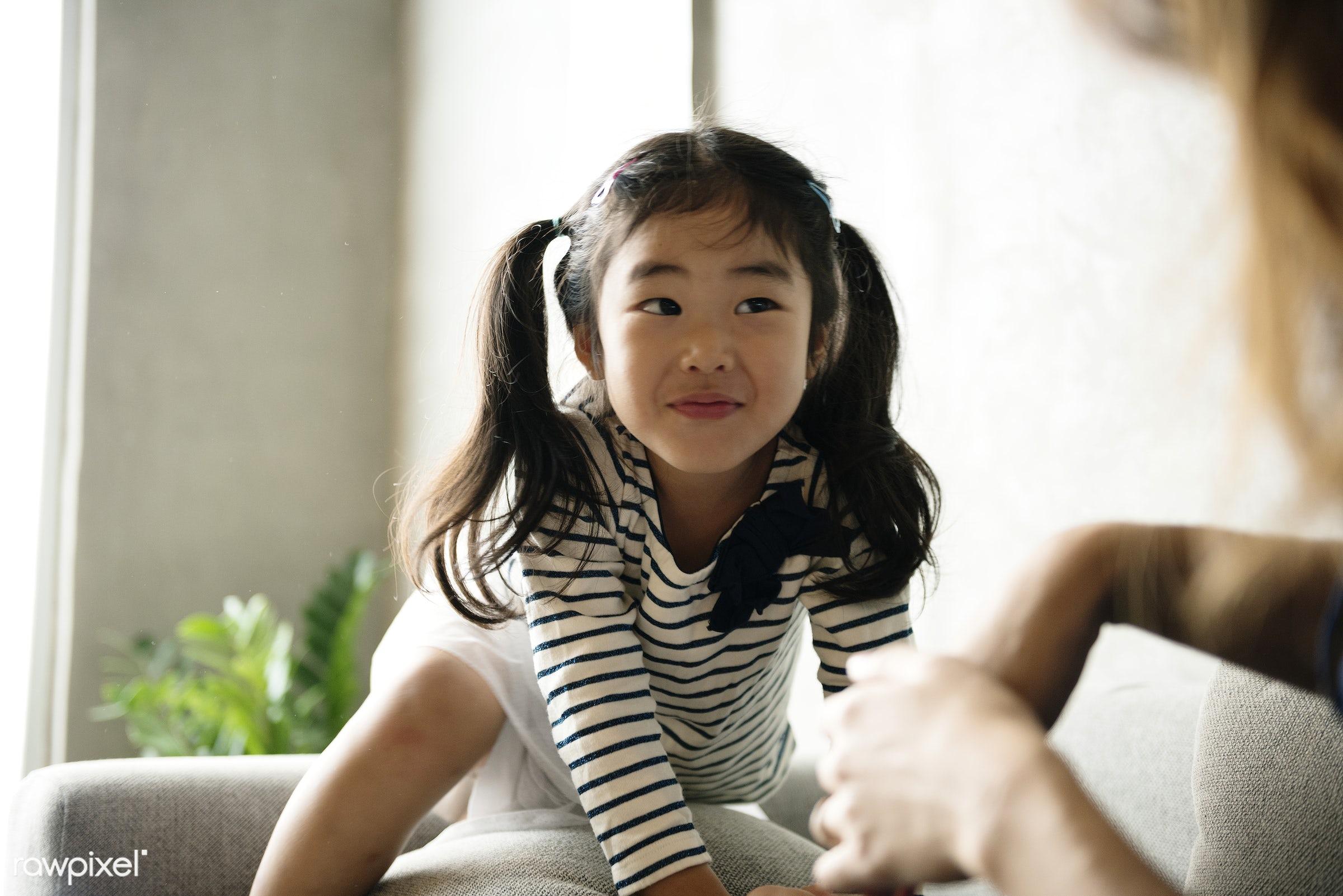 Cheerful japanese girl - asia, asian, bonding, casual, child, childhood, daughter, family, girl, happiness, japan, japanese...