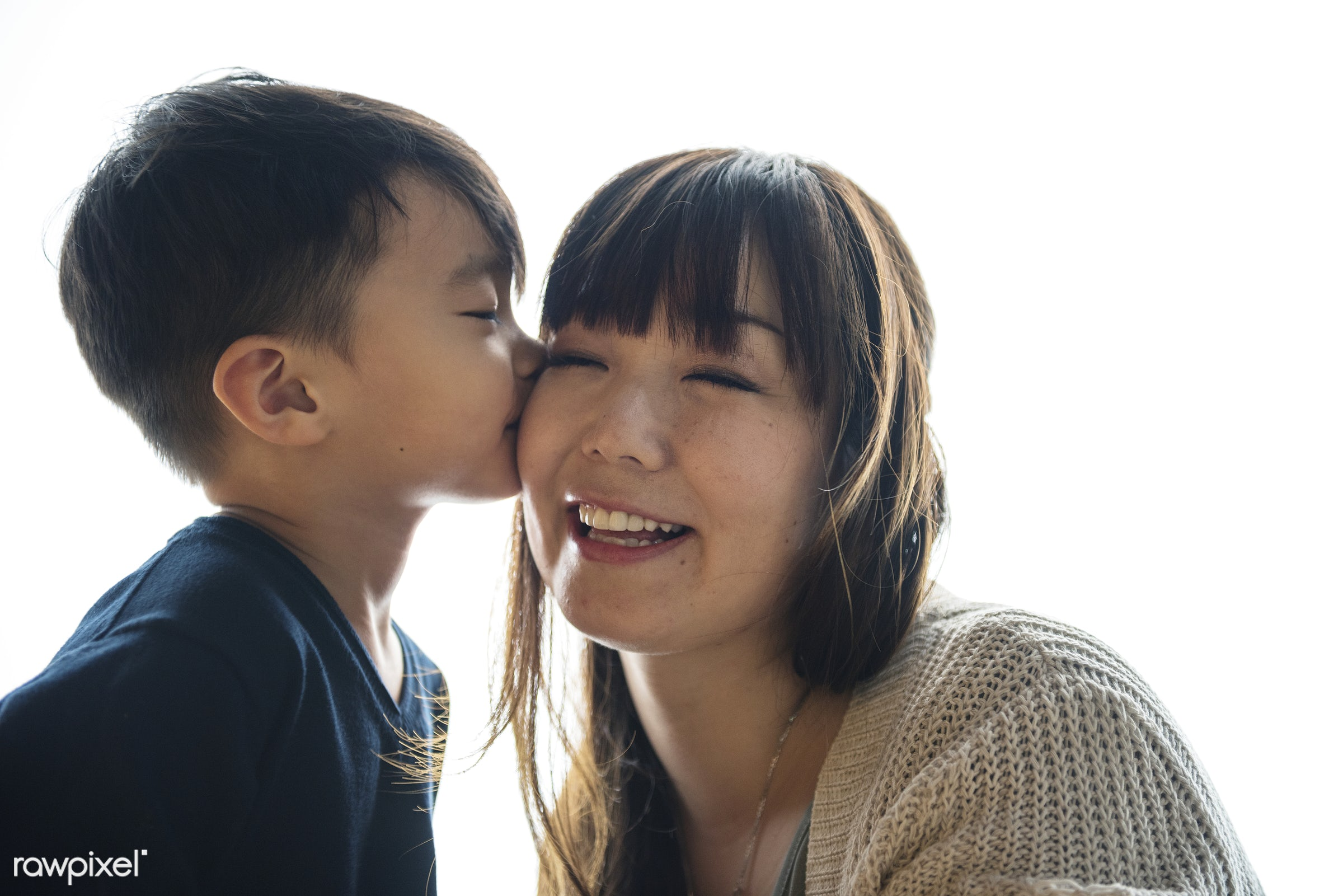 Japanese boy kissing his mother - asia, asian, bonding, boy, casual, cheek, child, childhood, family, happiness, japan,...