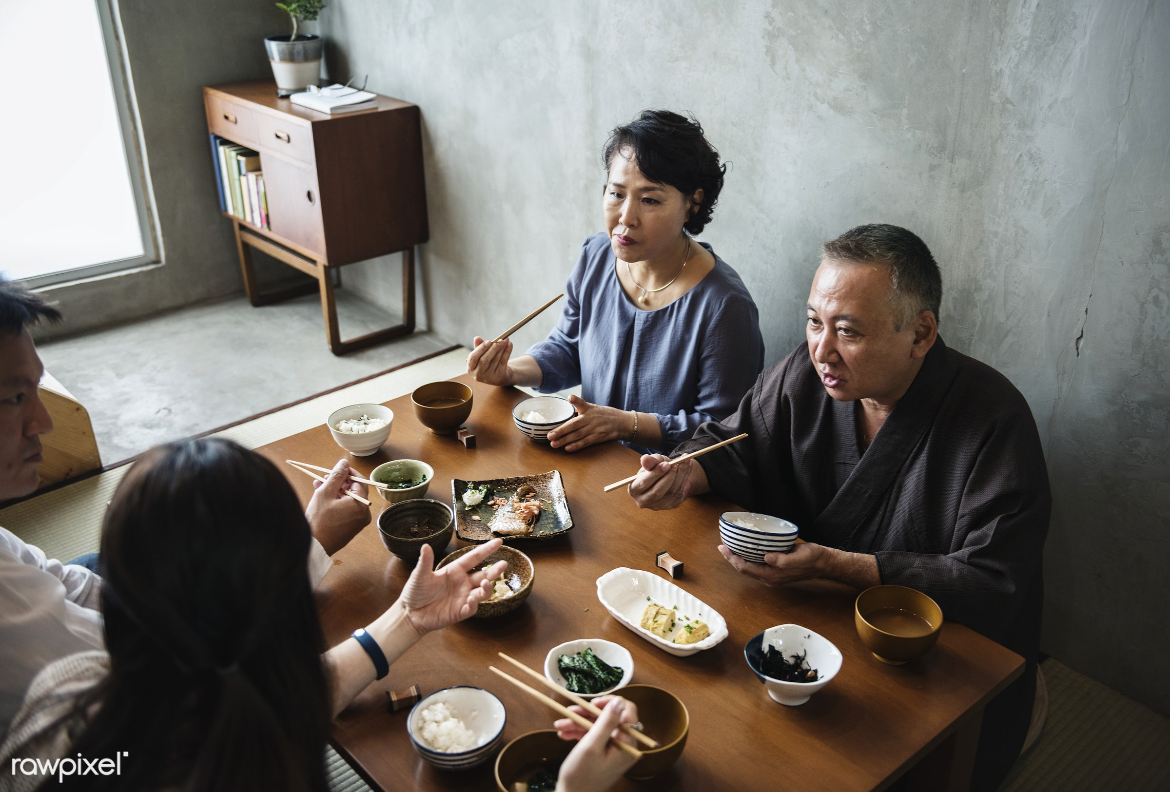 Japanese family eating - asia, asian, bonding, culture, dining, dinner, eating, family, food, group, happiness, home, japan...