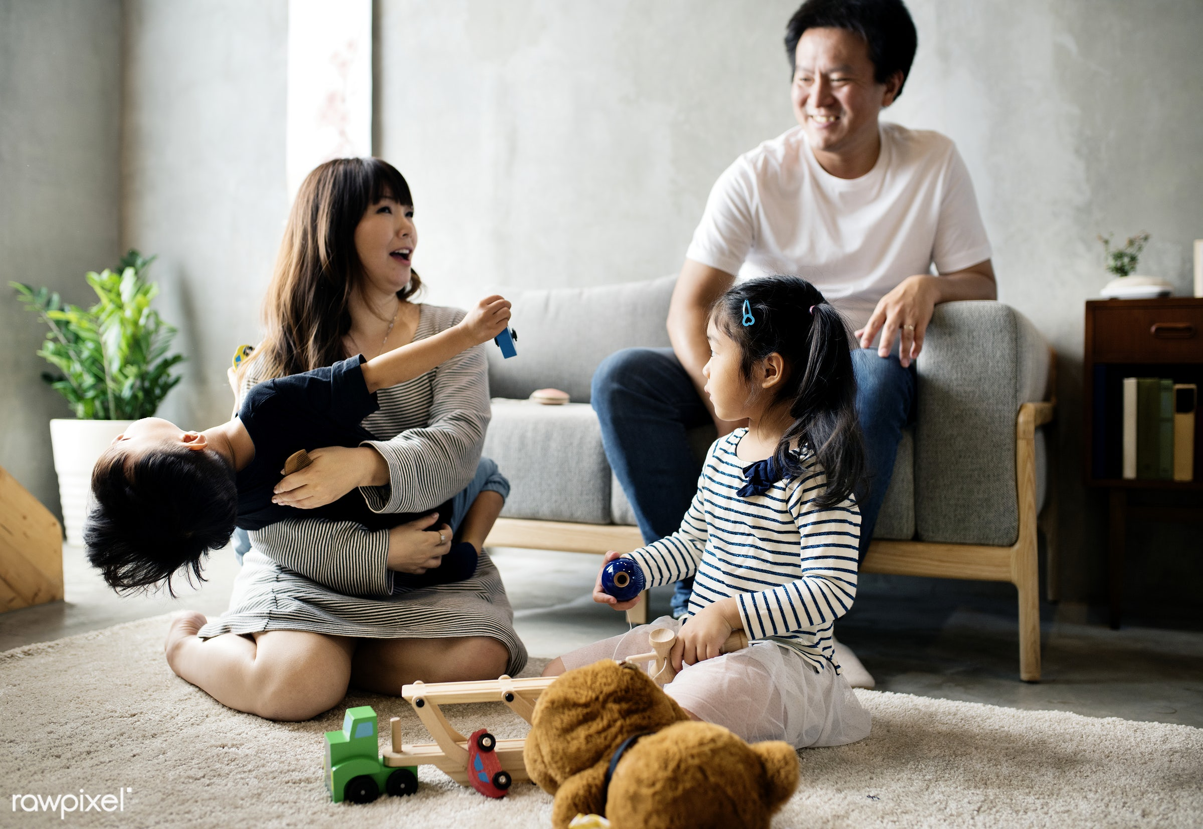 Japanese family having a great time together - family, adorable, asia, asian, brother, casual, childhood, children,...