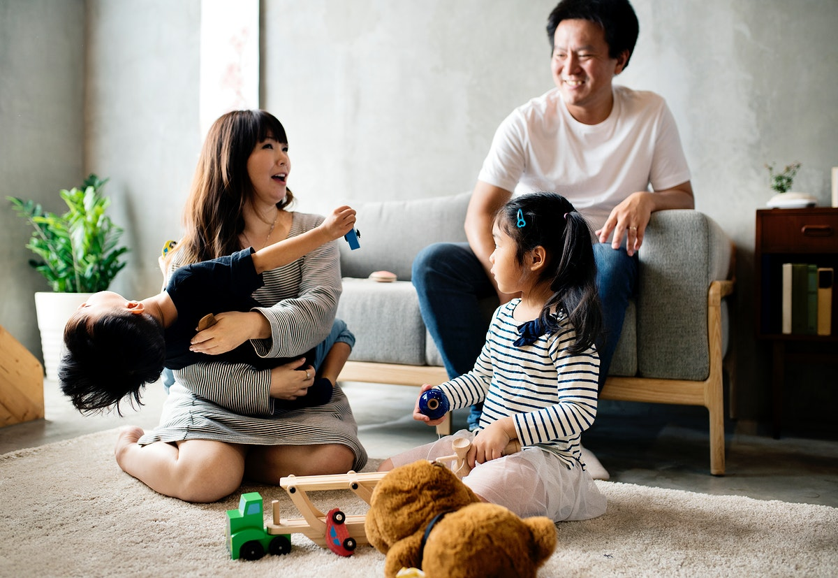 Japanese family having a great time together