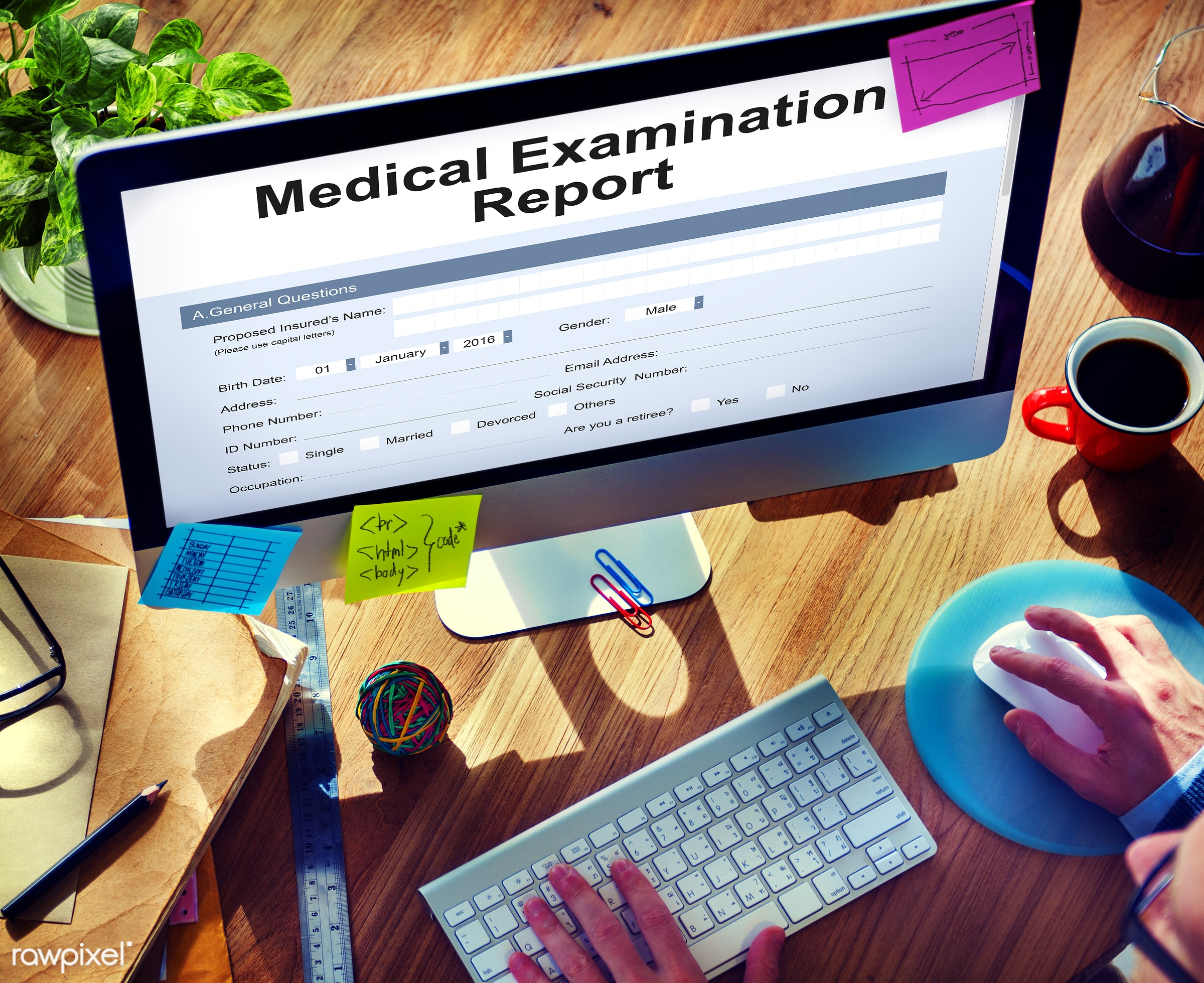 MEdical Examination Report Patient Record Concept - application, browsing, check, clinic, computer, data, devices, diagnosis...