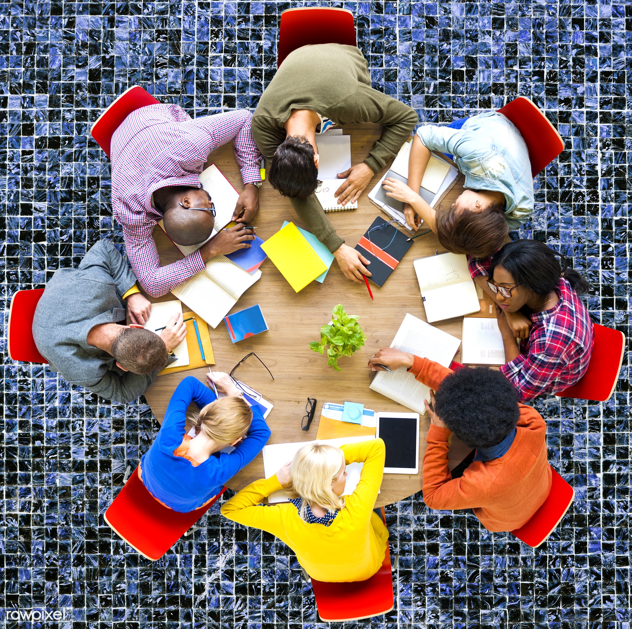 aerial view, african descent, asian ethnicity, boredom, ceramic tile, diversity, education, ethnicity, exhaustion, friends,...