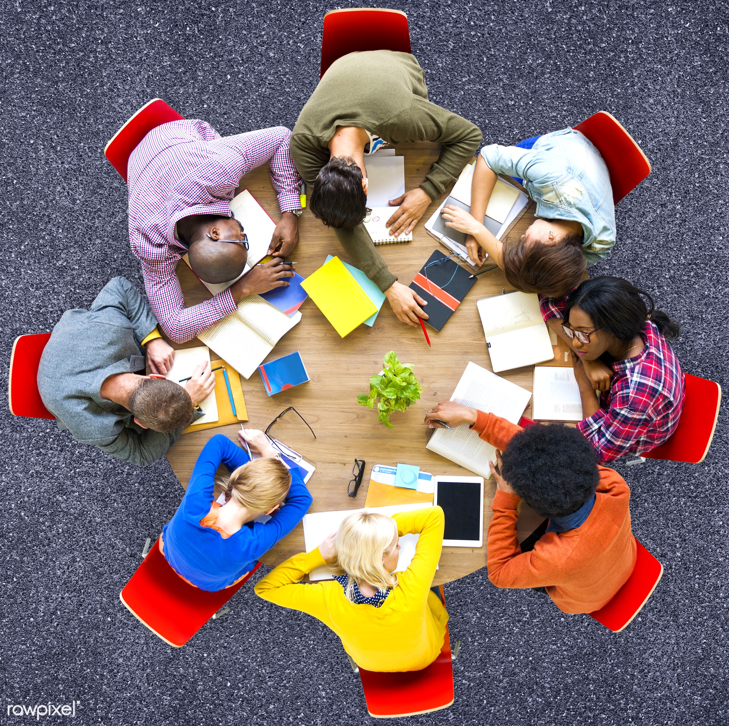 aerial view, african descent, asian ethnicity, boredom, concrete, diversity, education, ethnicity, exhaustion, friends,...