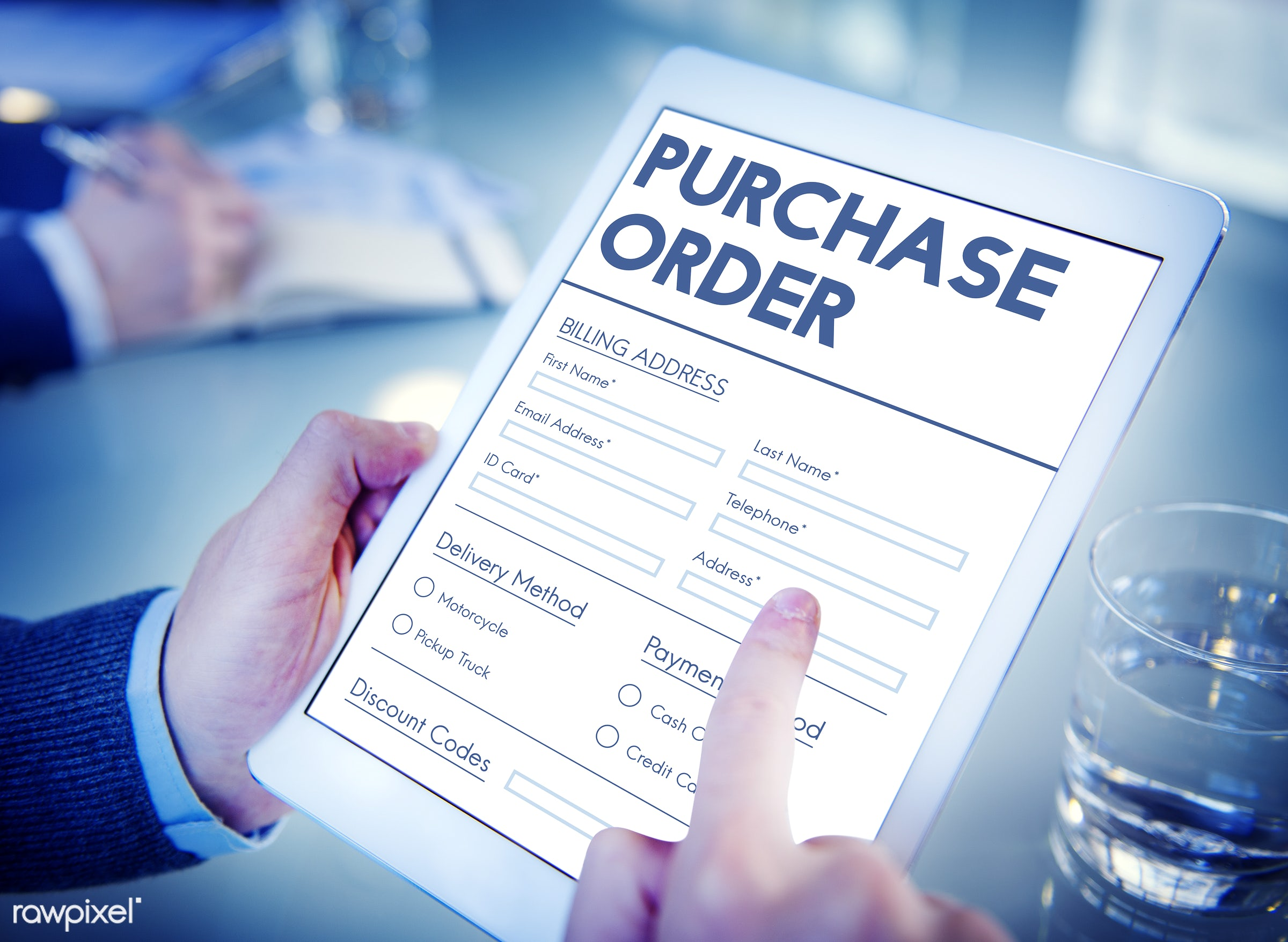 Closeup of people using digital tablet - form, purchase, online, internet, application, order, shopping, buy, e-payment, e-...