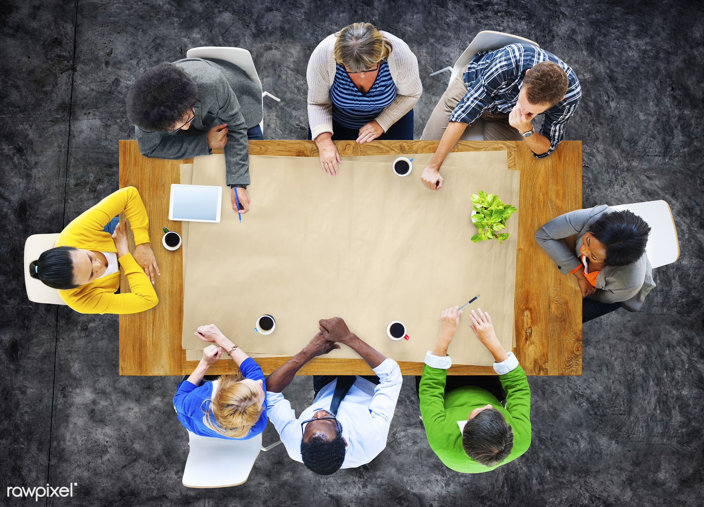 Aerial view of  - aerial, blank, boards, brainstorm, business, copy space, creative, design space, diverse, meeting, men,...