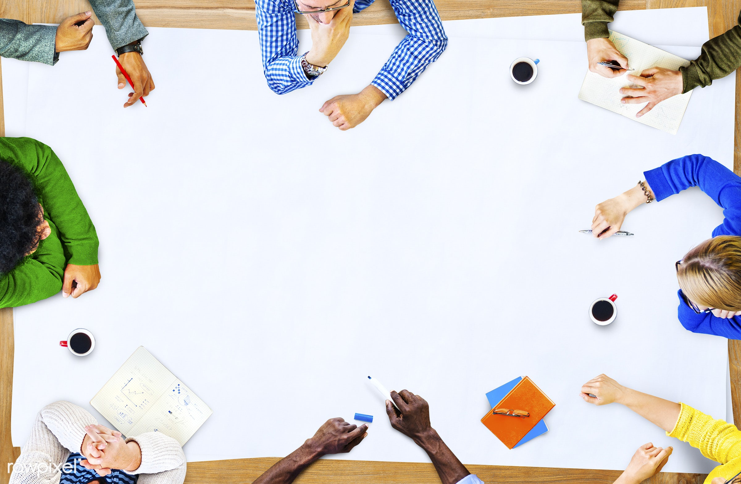 aerial view, african, african descent, asian, asian ethnicity, blank, brainstorming, business, casual, colorful,...