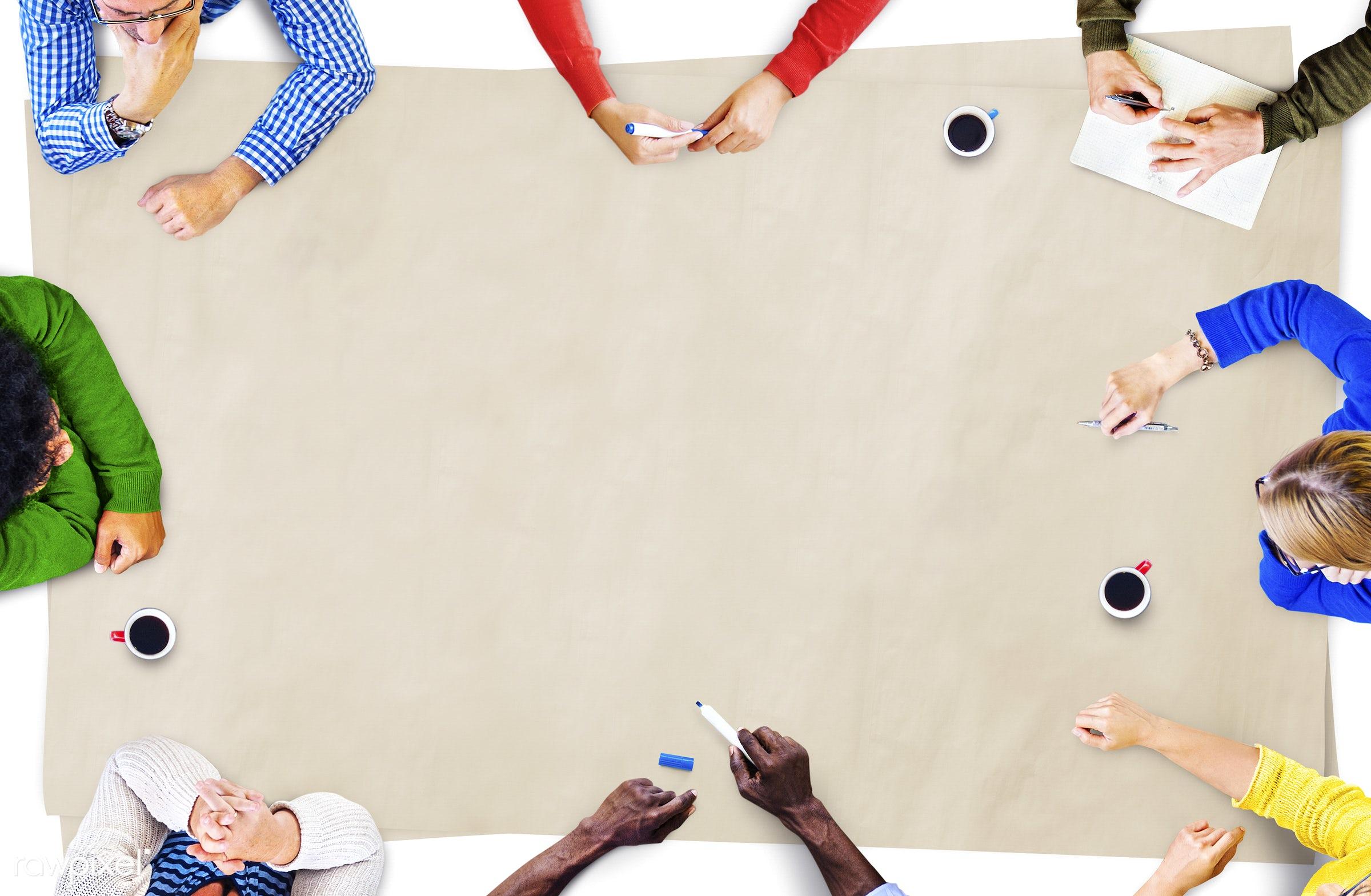 aerial view, blank, brainstorm, brainstorming, businessmen, businesswomen, coffee, college, colorful, communication,...