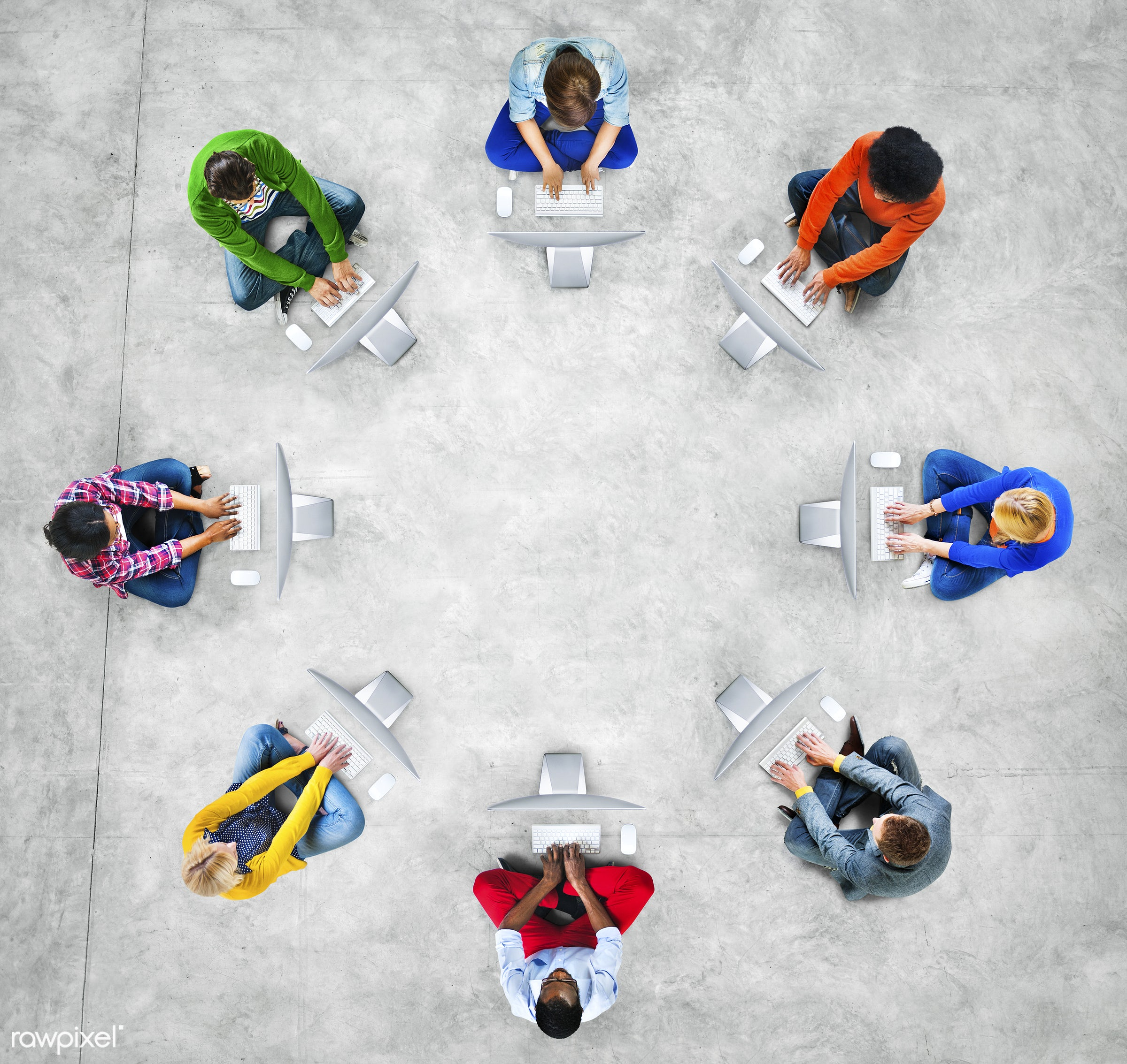 aerial view, business people, casual, chatting, colorful, communication, community, computer, computer network, concepts,...