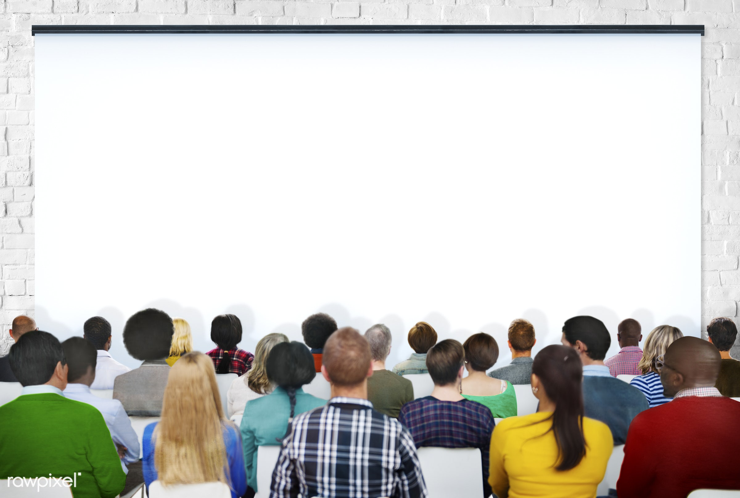 projection screen, white, adult, african, african descent, asian, asian ethnicity, audience, brick, brick wall, casual,...