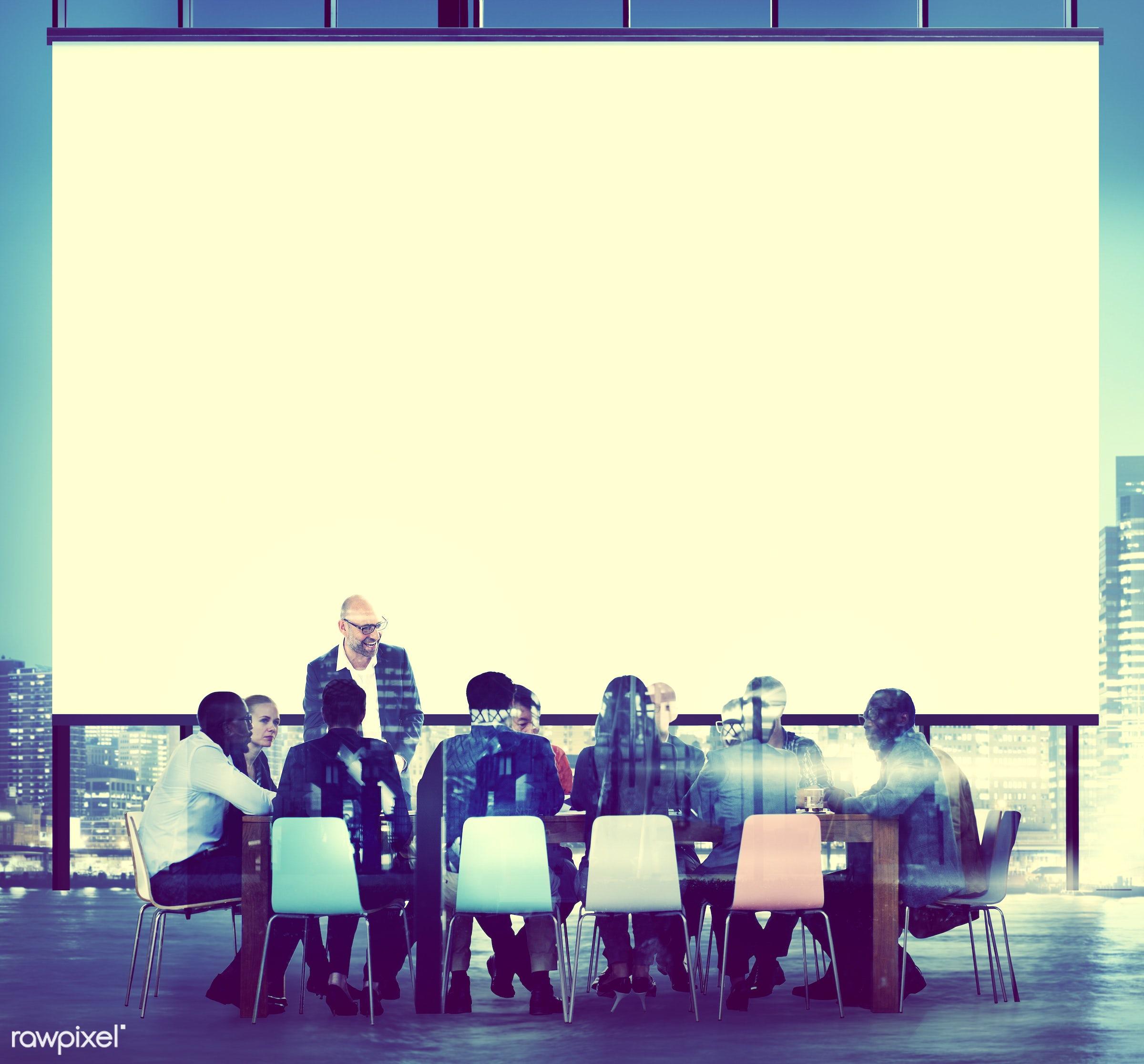 african descent, asian ethnicity, back lit, board room, brainstorming, building, business, business people, businessmen,...