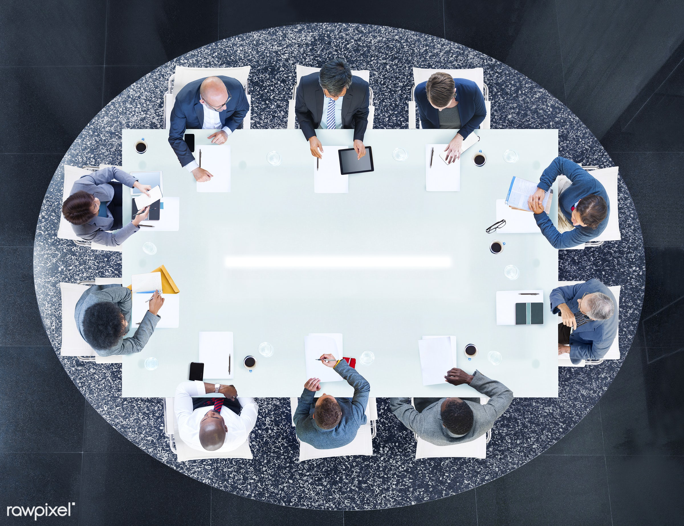 aerial view, african descent, asian ethnicity, brainstorming, business, business meeting, business people, business planning...