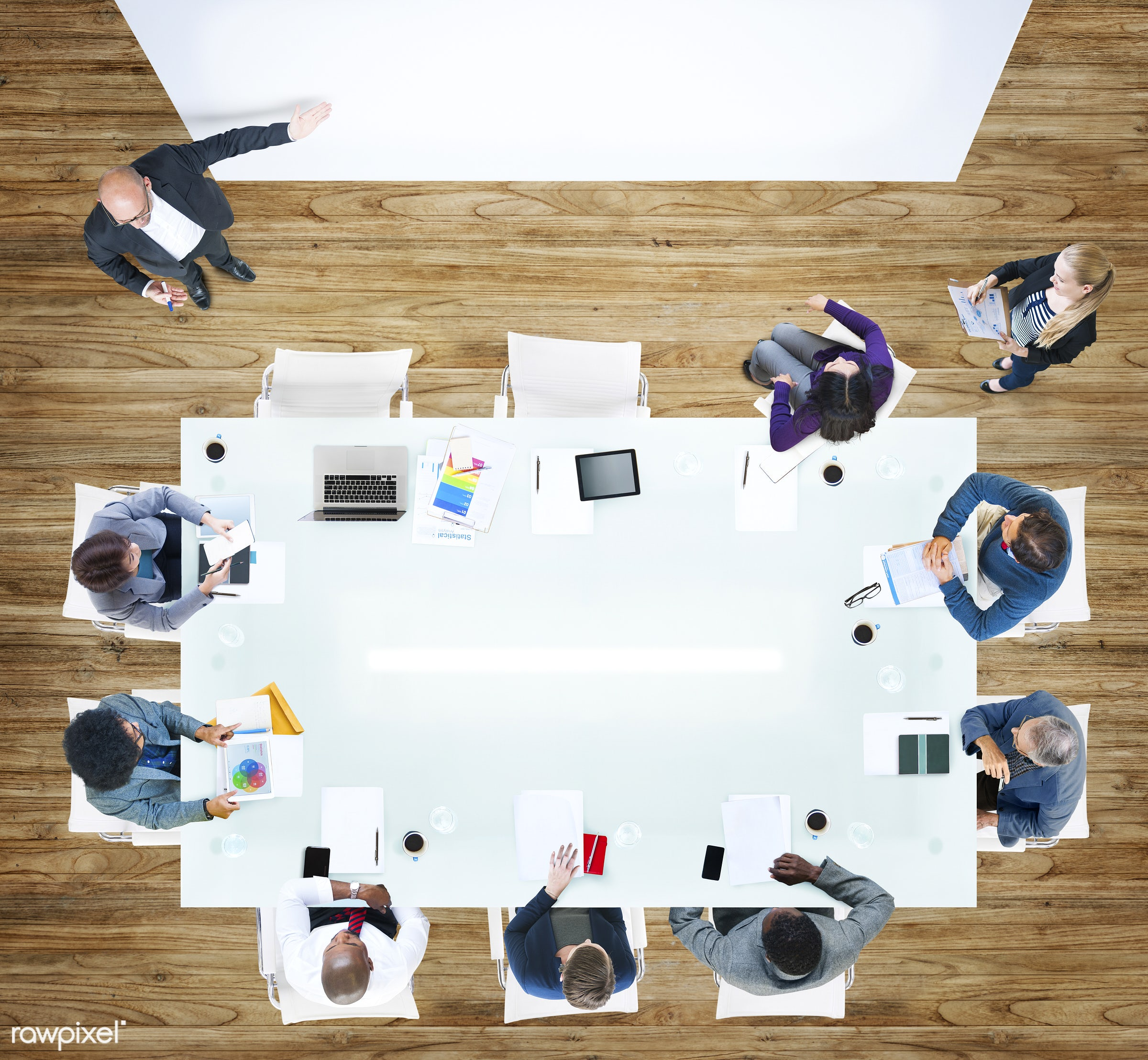 contemporary, aerial view, african descent, asian ethnicity, board meeting, board room, business, business people,...