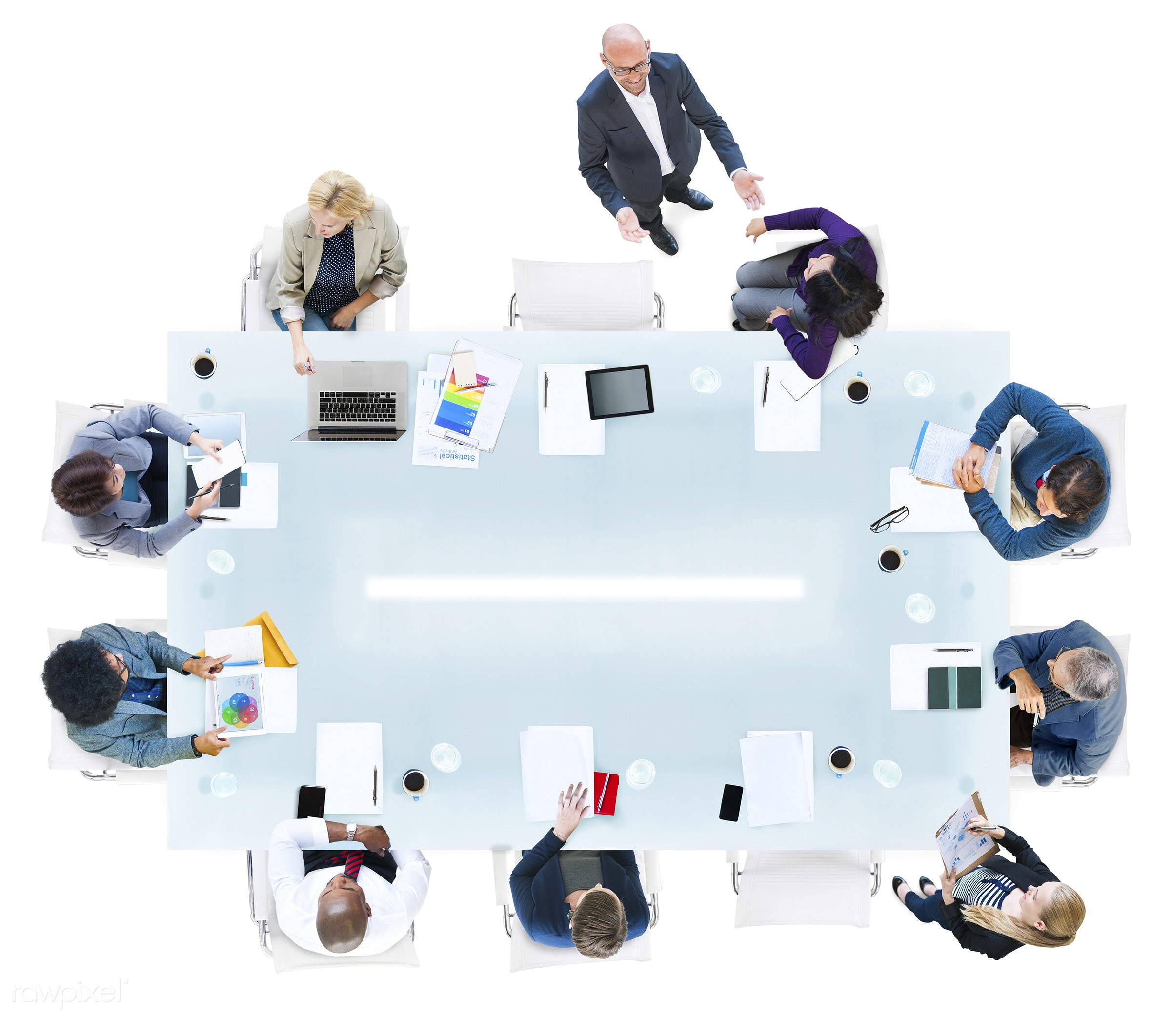aerial view, brainstorming, business, business people, businessmen, businesswomen, cheerful, communication, conference,...