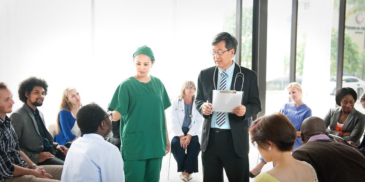 Doctor Patient Rehabilitation Counselor Psychology Medication Concept
