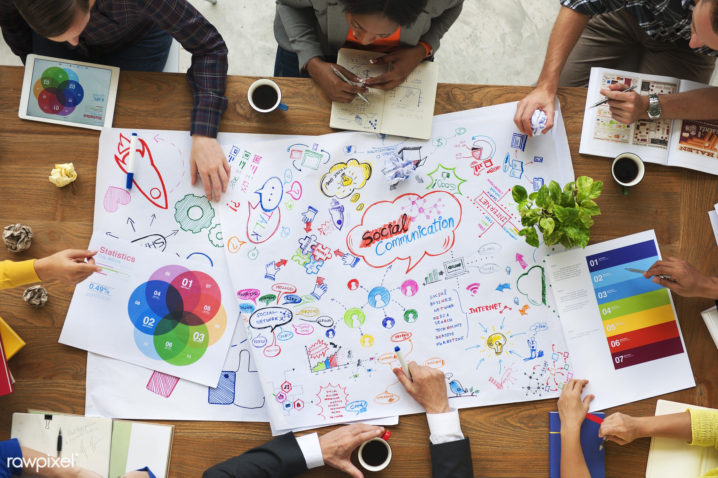 aerial view, brainstorming, communication, connection, discussion, diversity, ethnicity, friends, friendship, internet,...
