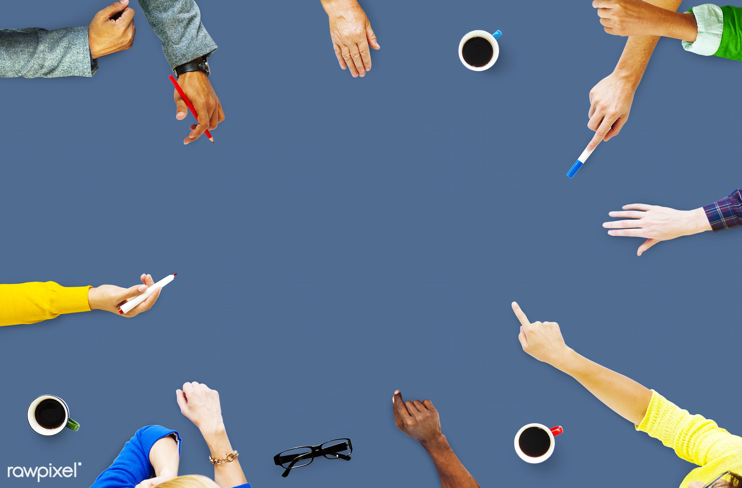 aerial view, african descent, asian ethnicity, blank, blue, brainstorming, casual, classroom, college, colorful,...